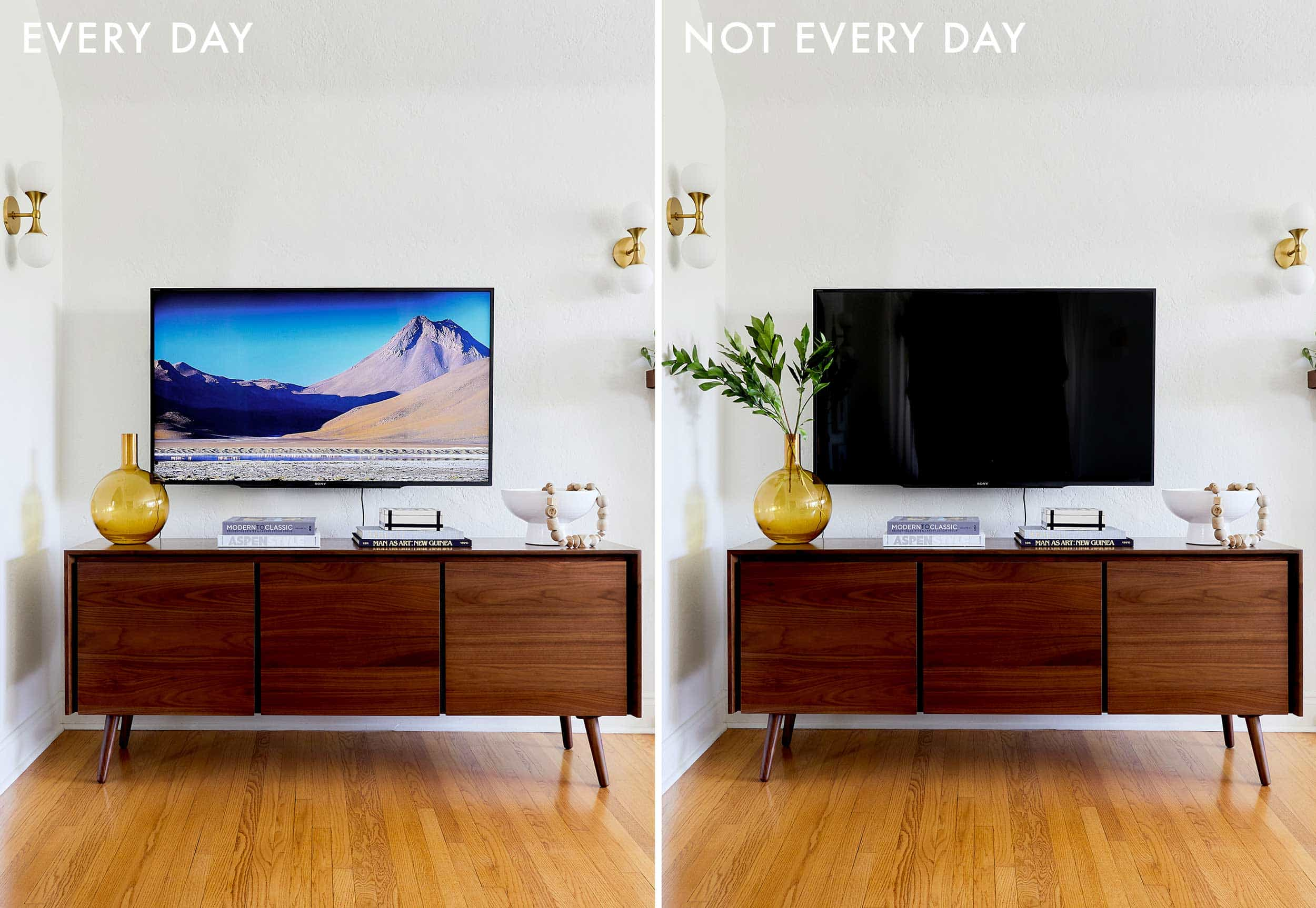 Emily Henderson Credenza Styling Tv Without Soundbar Side By Side 1