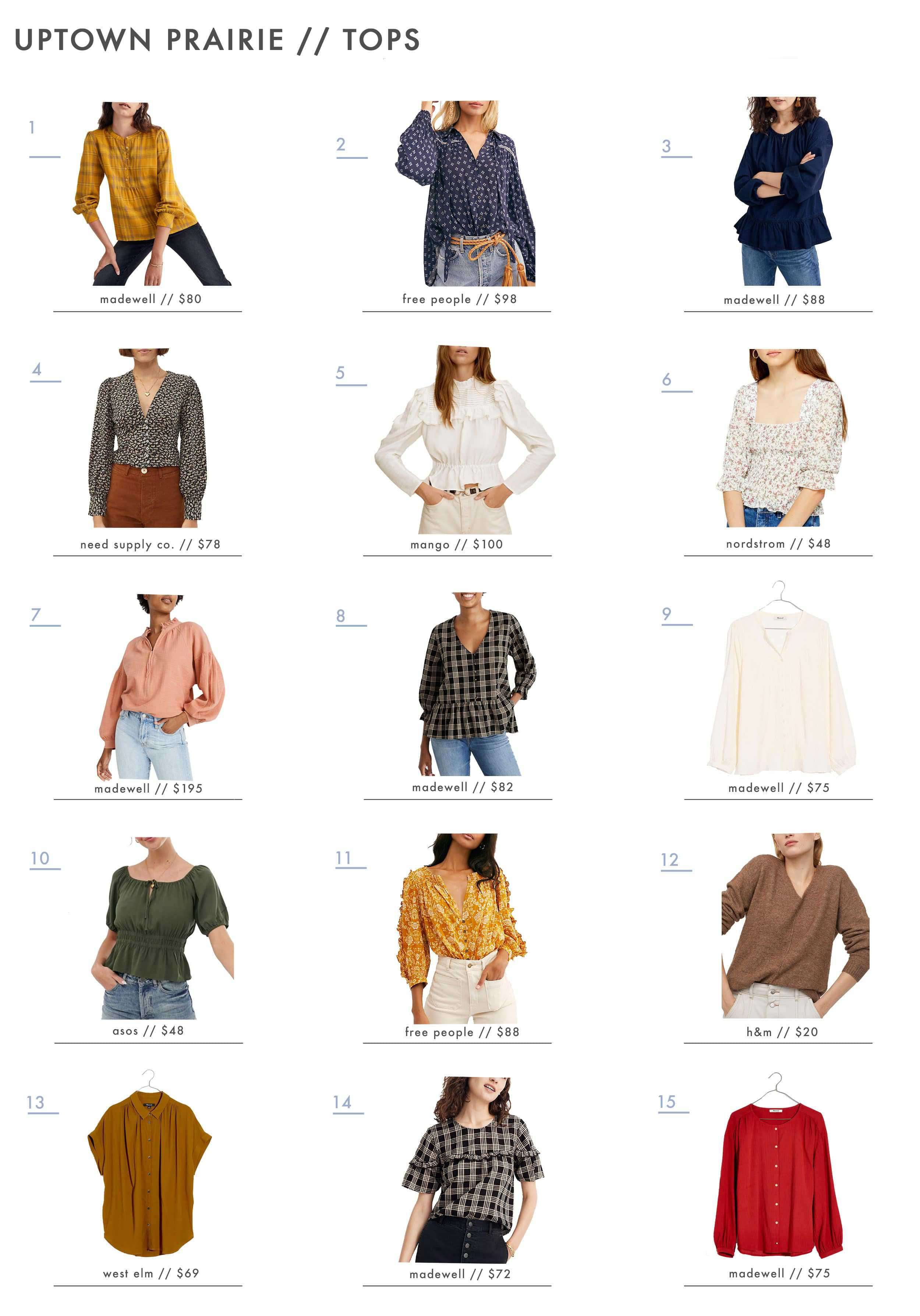 Emily Henderson Affordable Prairie Fashion Trend Tops