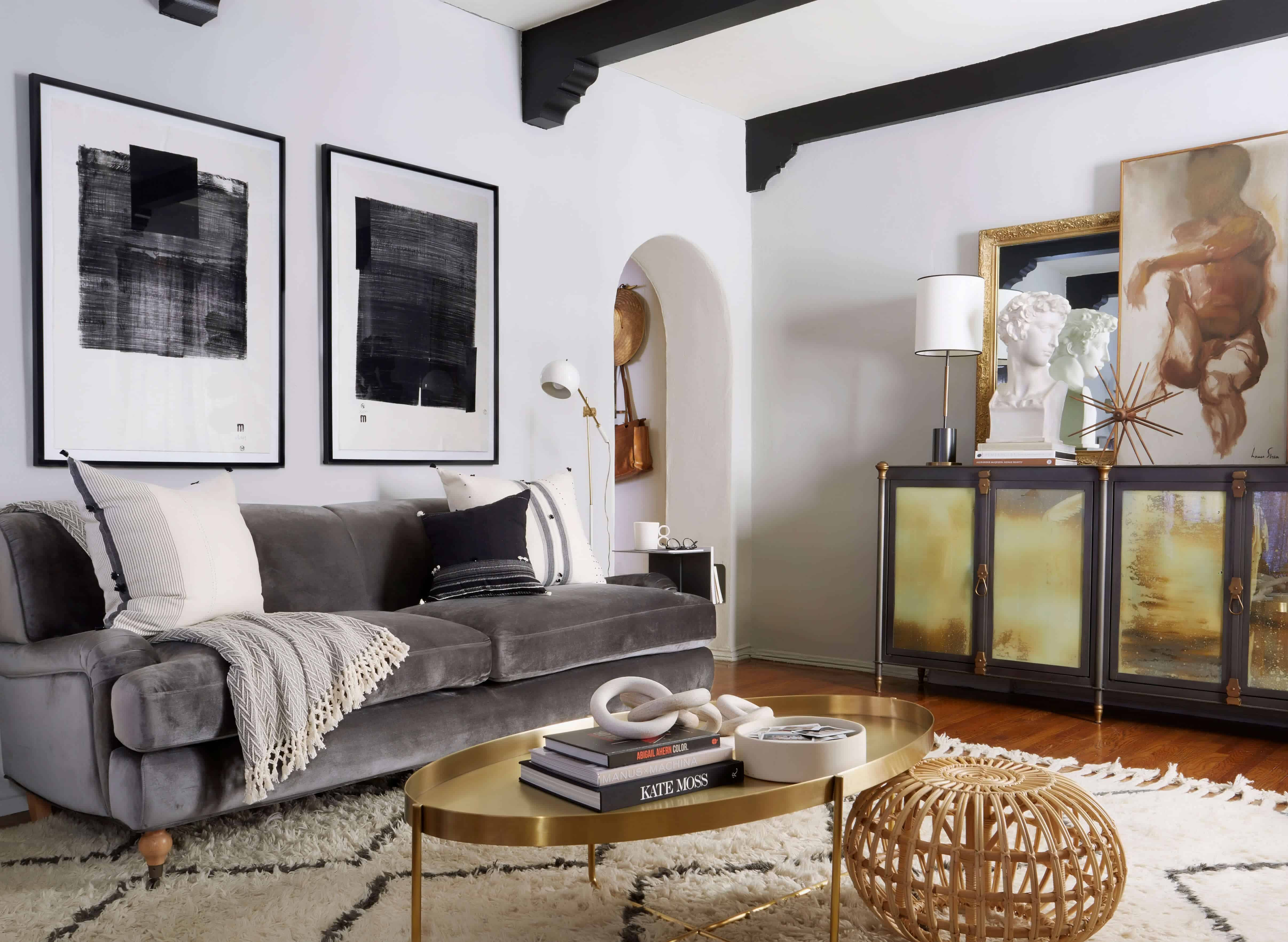 Brady Tolbert Design Emily Henderson Living Room Eclectic Pavillion Grey Farrow And Ball Brass Coffee Table English Roll Arm Albini Masculine Traditional West Elm Souk Flokati Leather 5