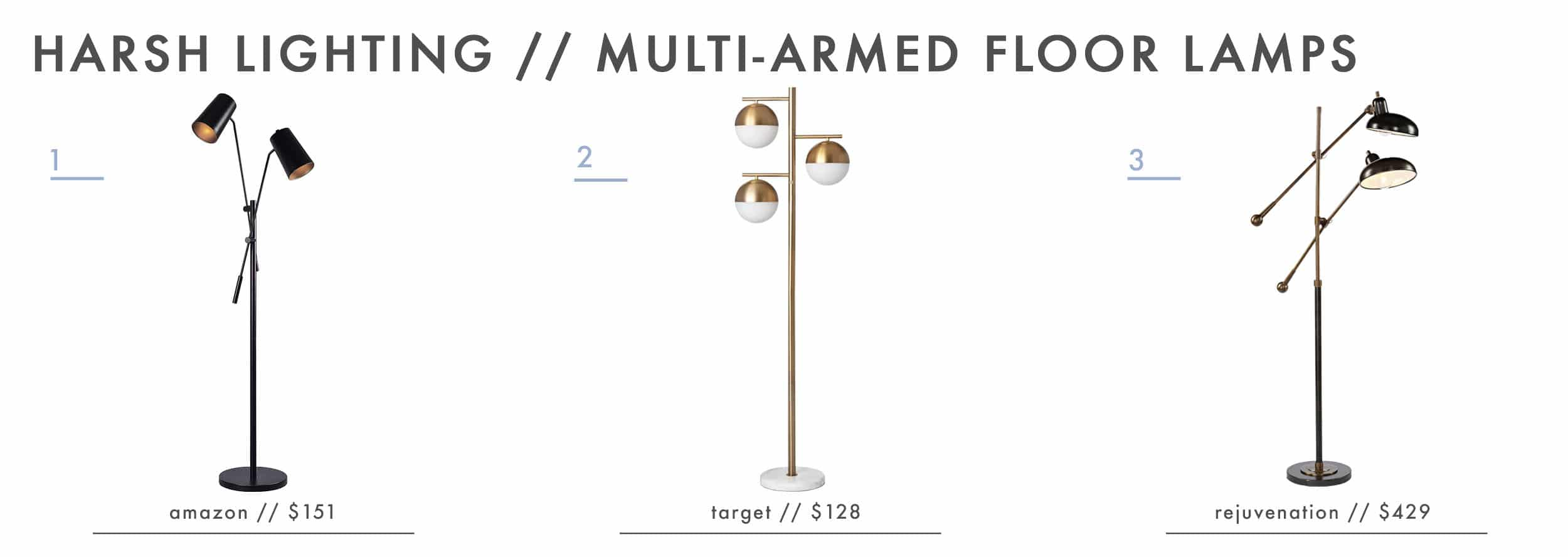 Emily Henderson Design Agony Harsh Lighting Multi Armed Floor Lamps