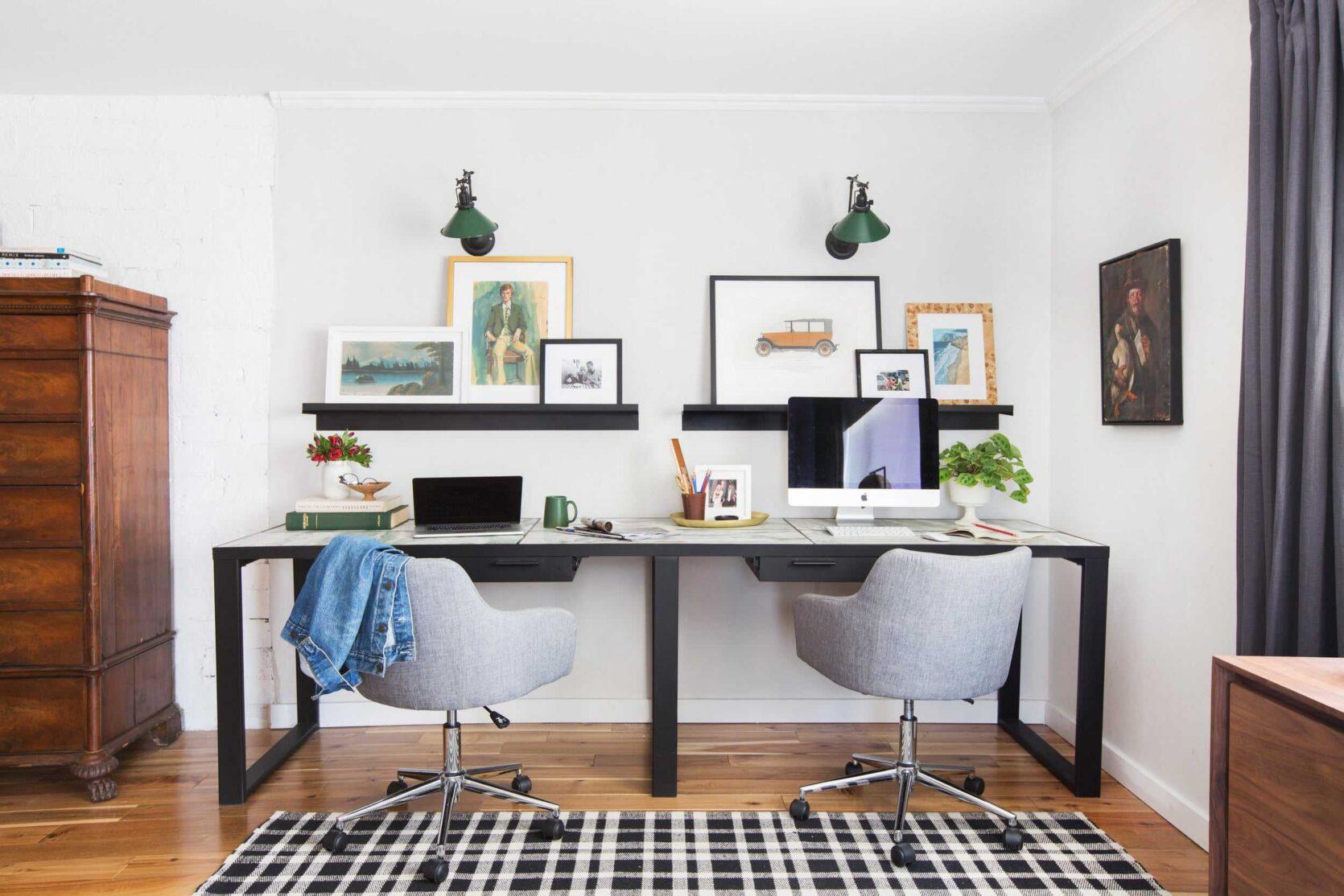 Emily Henderson Framebridge Art Ledge Brians Office Masculine Office Guy Green Plaid Rug Workspace Modern Eclectic 1