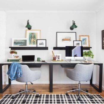 Emily Henderson Framebridge Art Ledge Brians Office Masculine Office Guy Green Plaid Rug Workspace Modern Eclectic 1