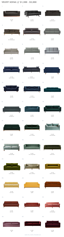 Emily Henderson Roundup Velvet Sofa 1300 To 2000