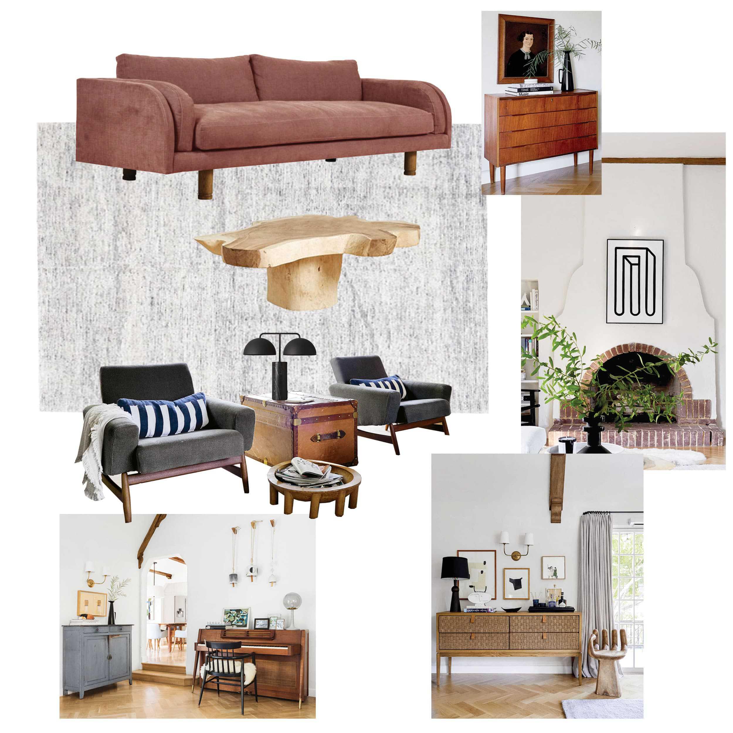 Living Room Moodboard Blush