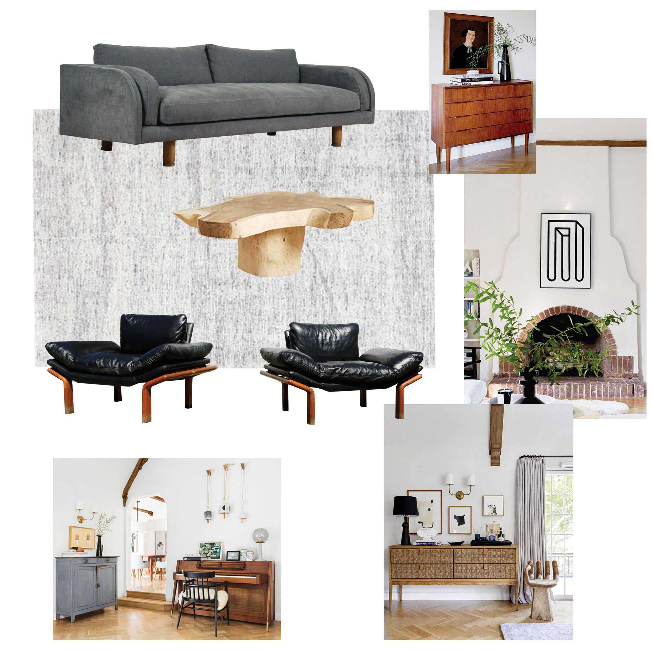 Living Room Moodboard Denim Black Chairs