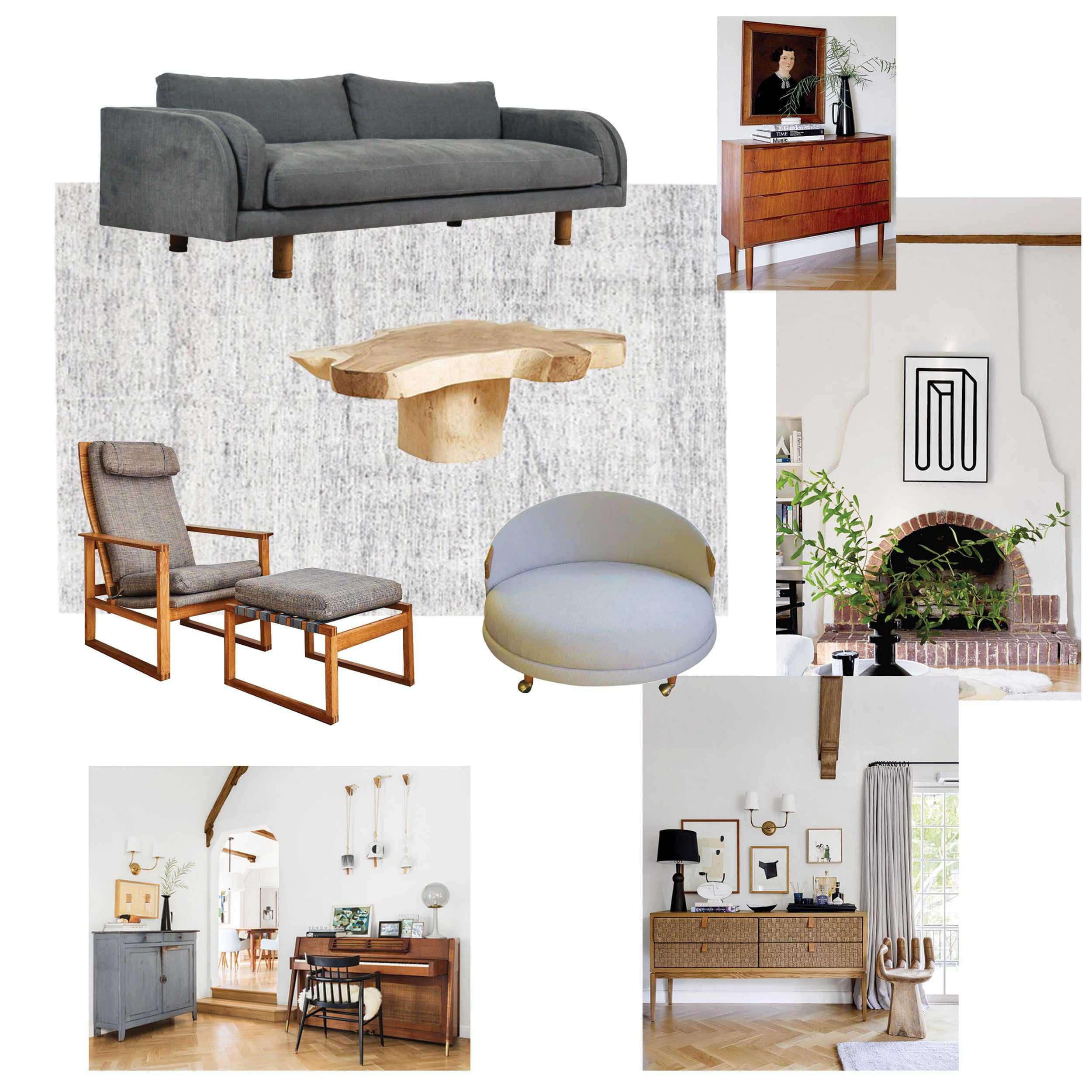 Living Room Moodboard Denim Eclectic