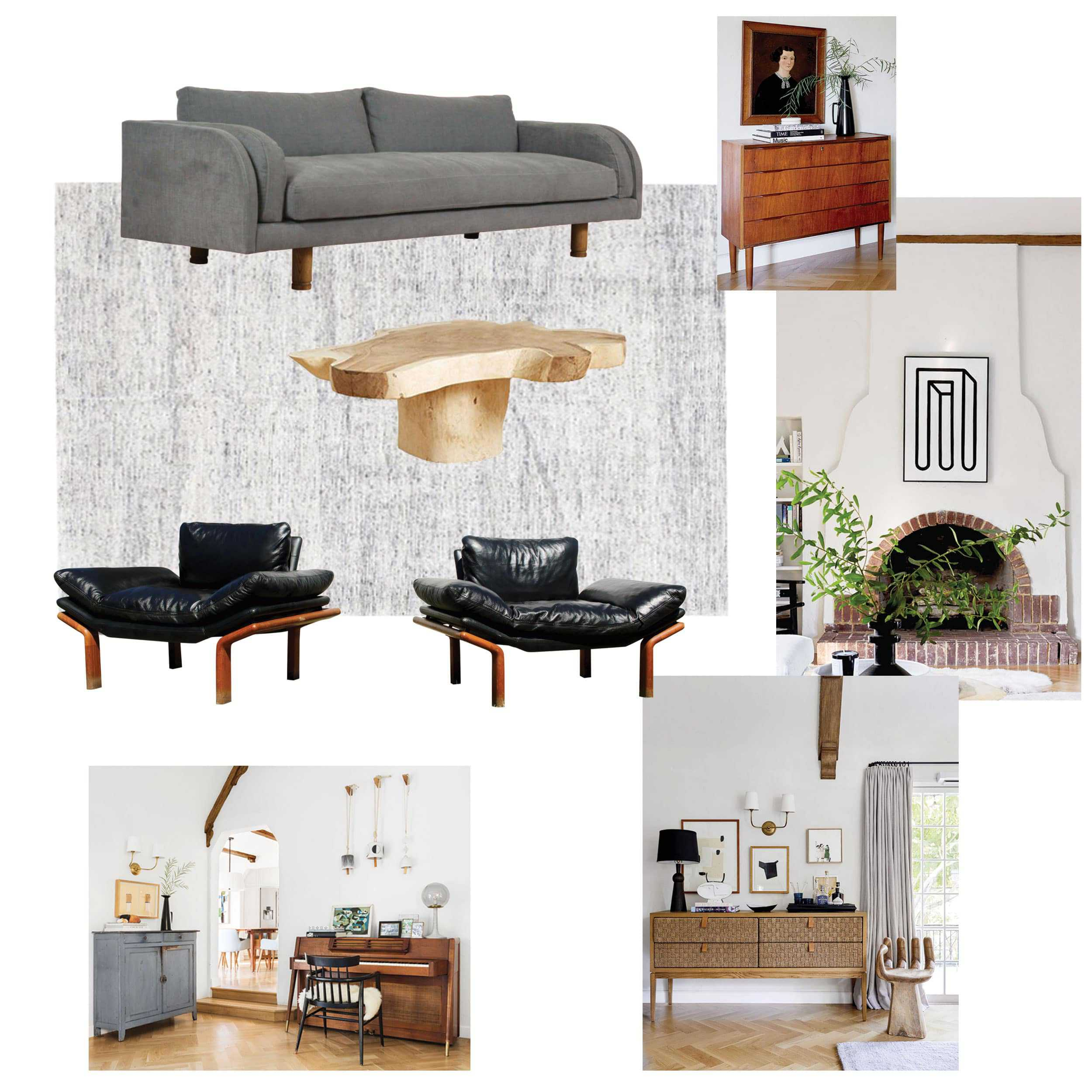 Living Room Moodboard Gray Black Chairs
