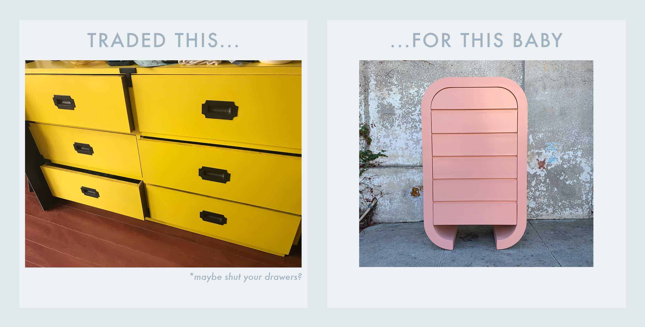 Side By Side Block Yellow To Pink Dresser