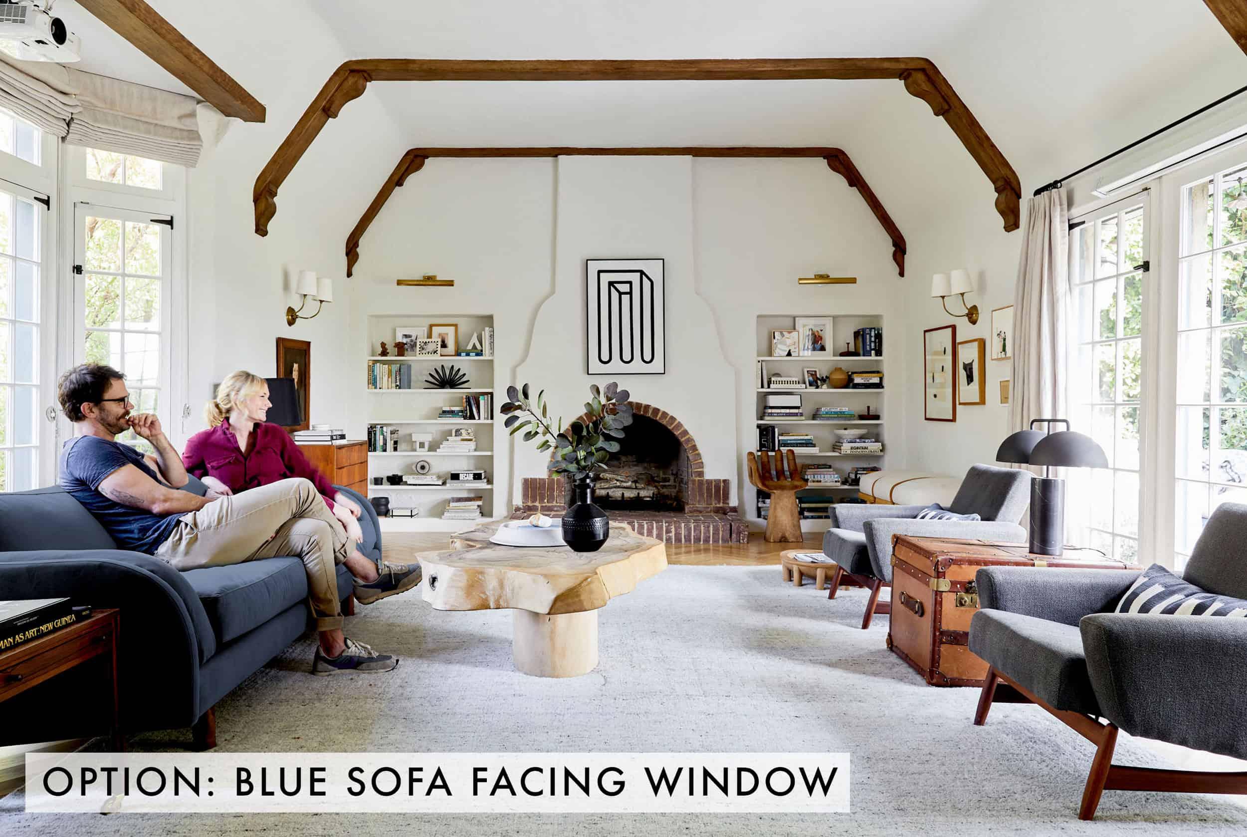 Blue Sofa Facing Window