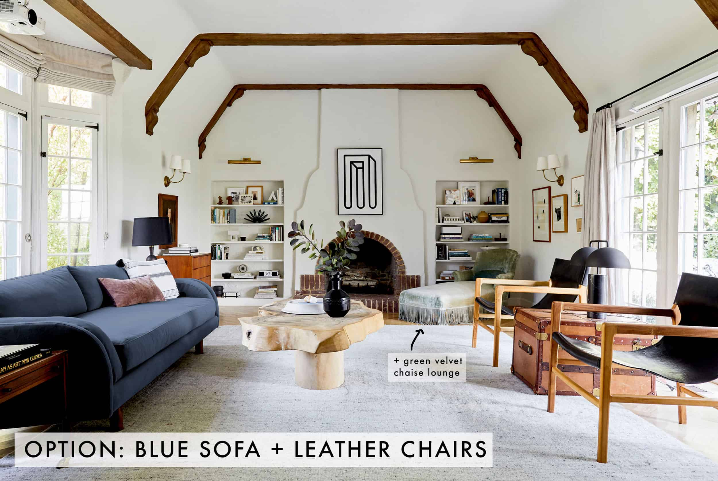 Blue Sofa + Leather Chairs