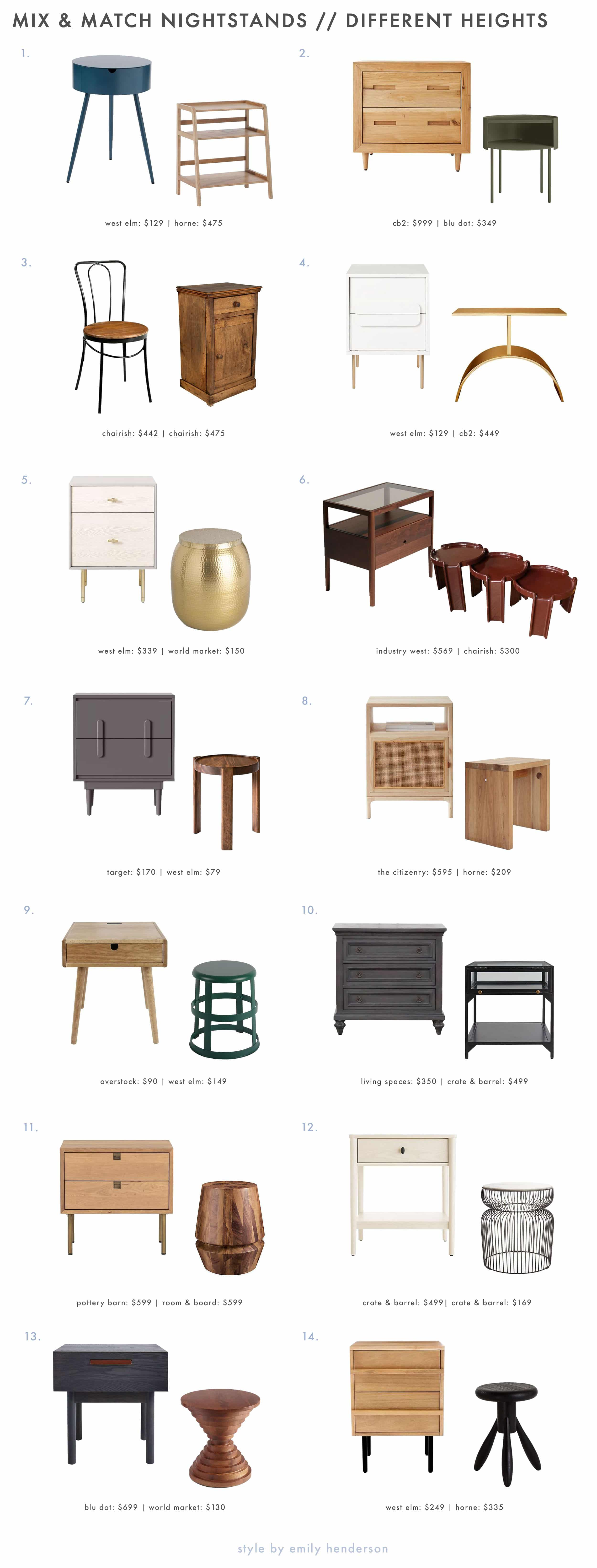 Emily Henderson Funk It Up Nightstands Diff Heights Roundup