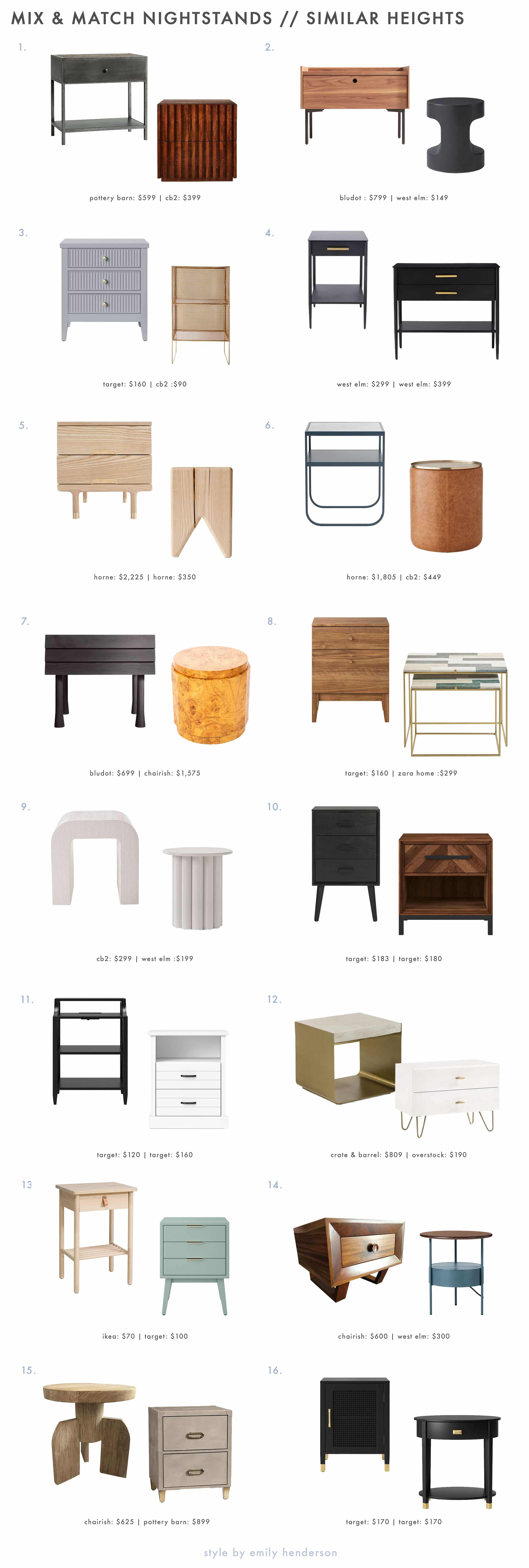 Emily Henderson Funk It Up Nightstands Same Heights Roundup