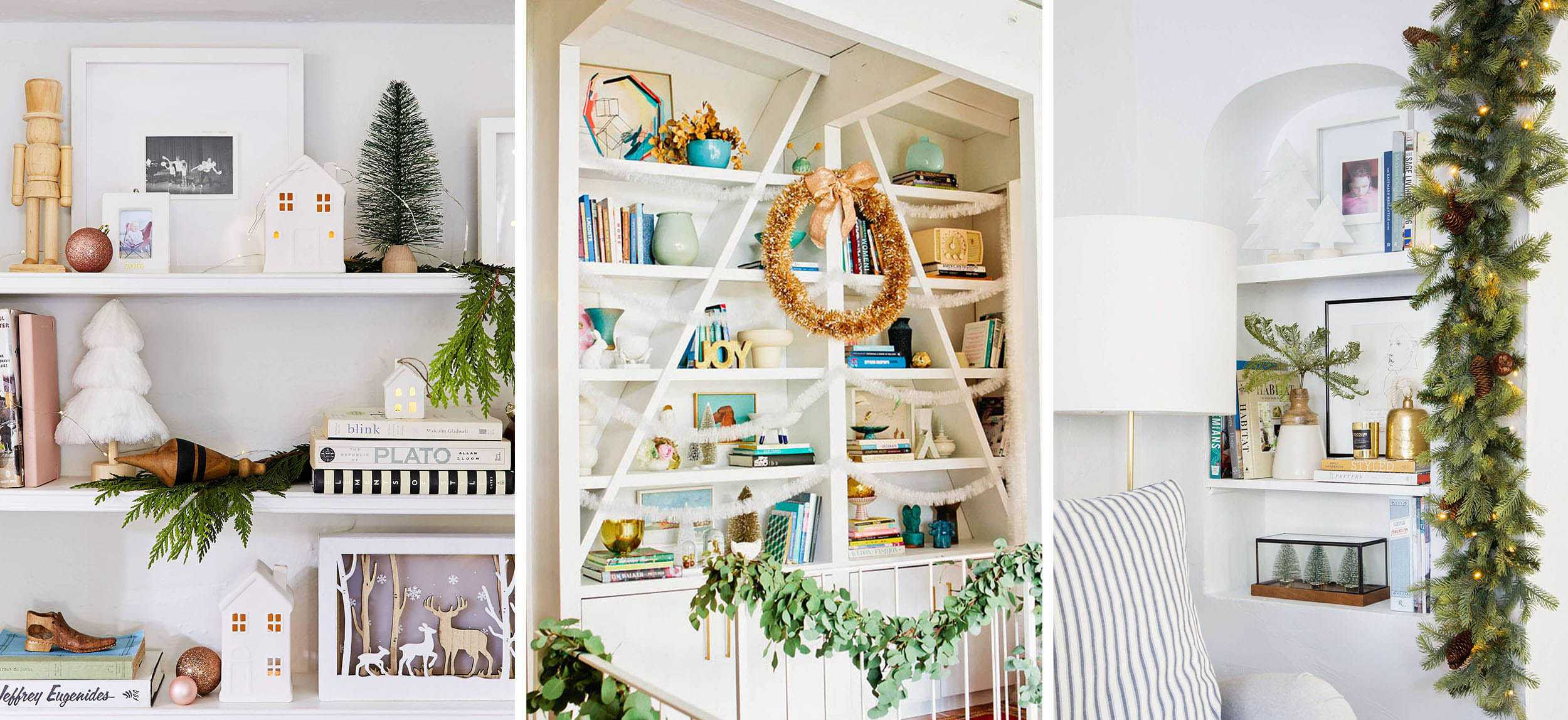 Emily Henderson Holiday Vignettes Shelves
