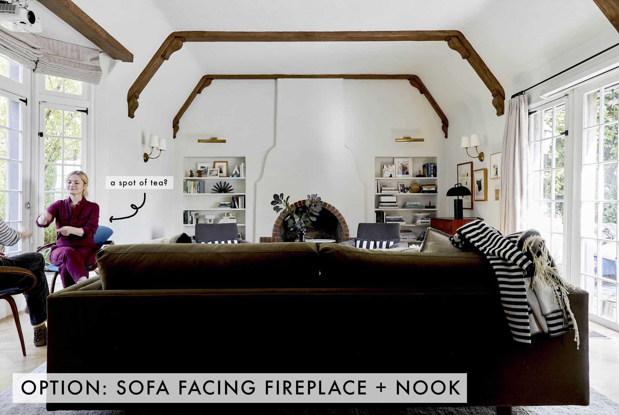 Sofa Facing Fireplace + Nook