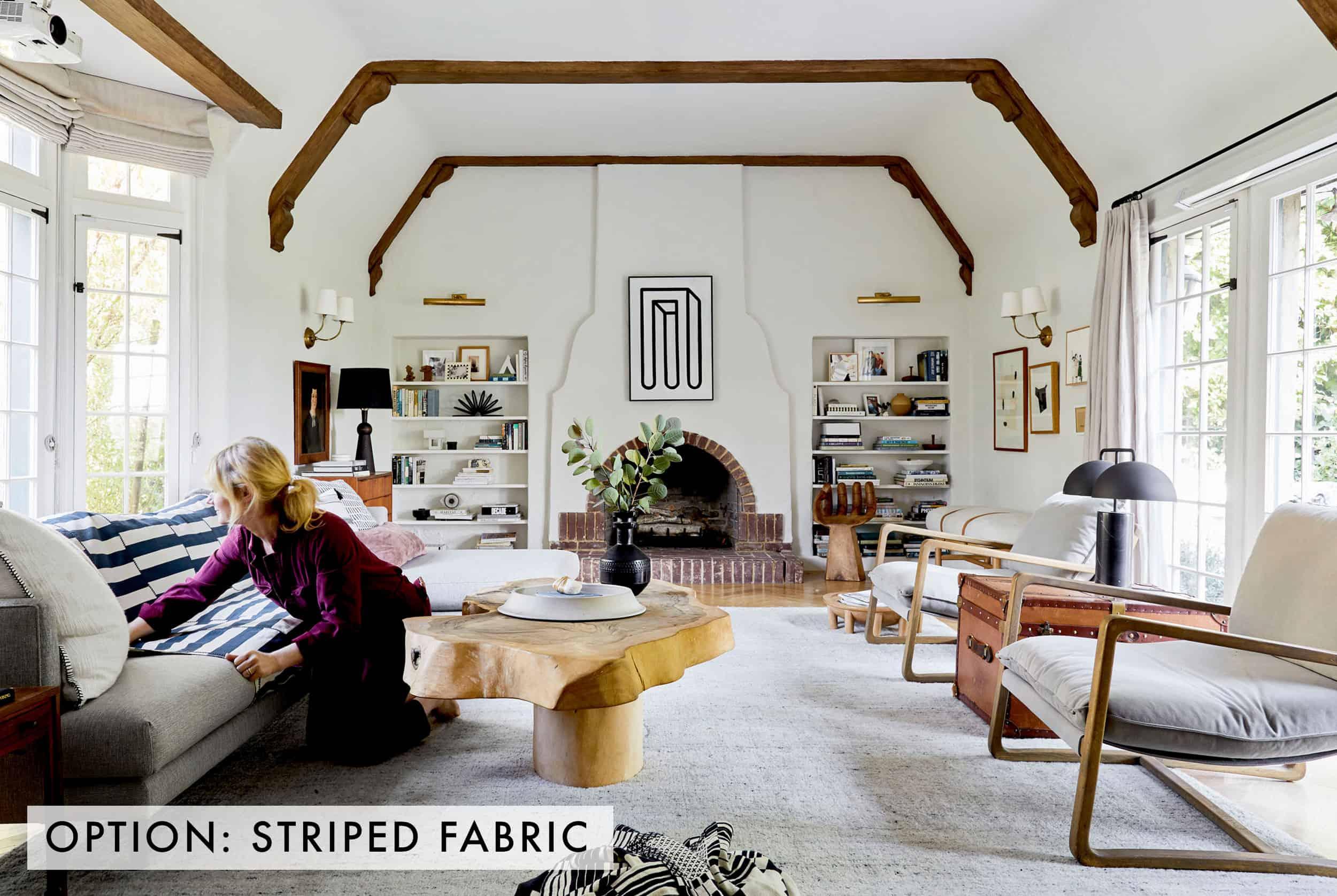 Striped Fabric On Sofa