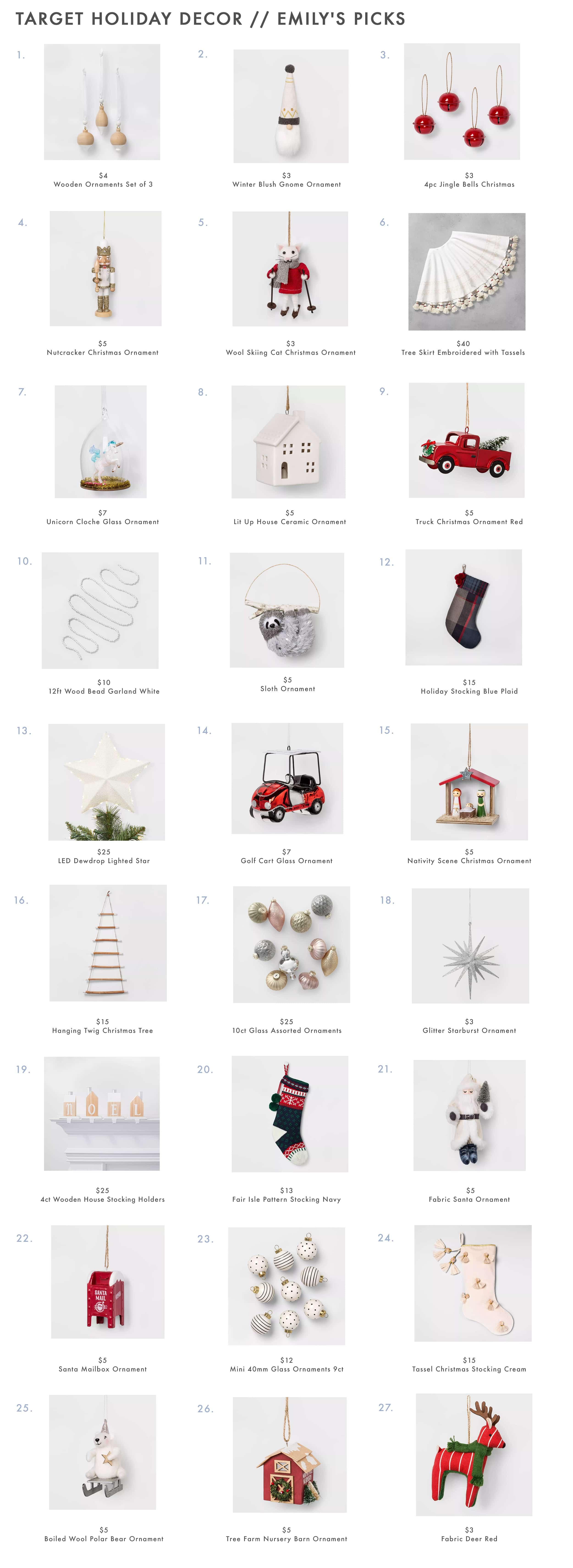 Target Holiday Decor Ornaments
