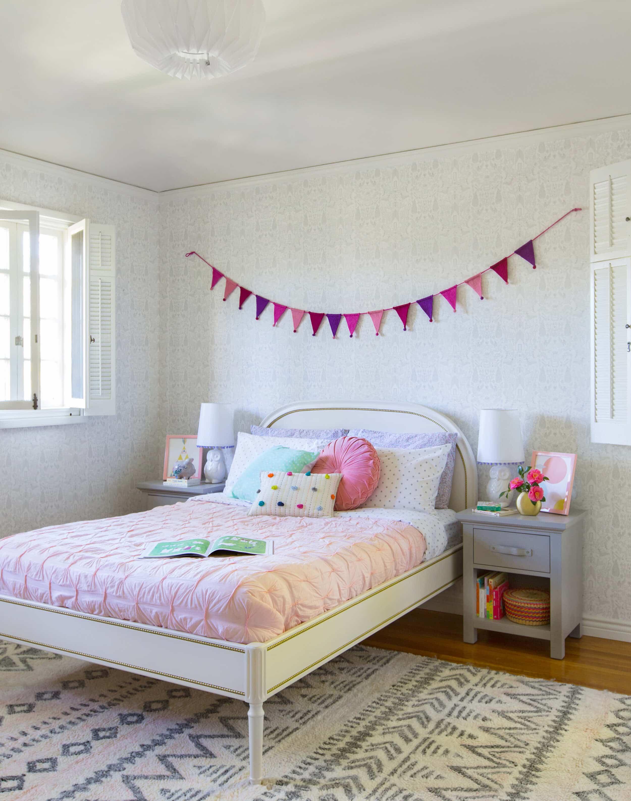 Emily Henderson Full Design Little Girls Room Pink Gray Playful Pics 4
