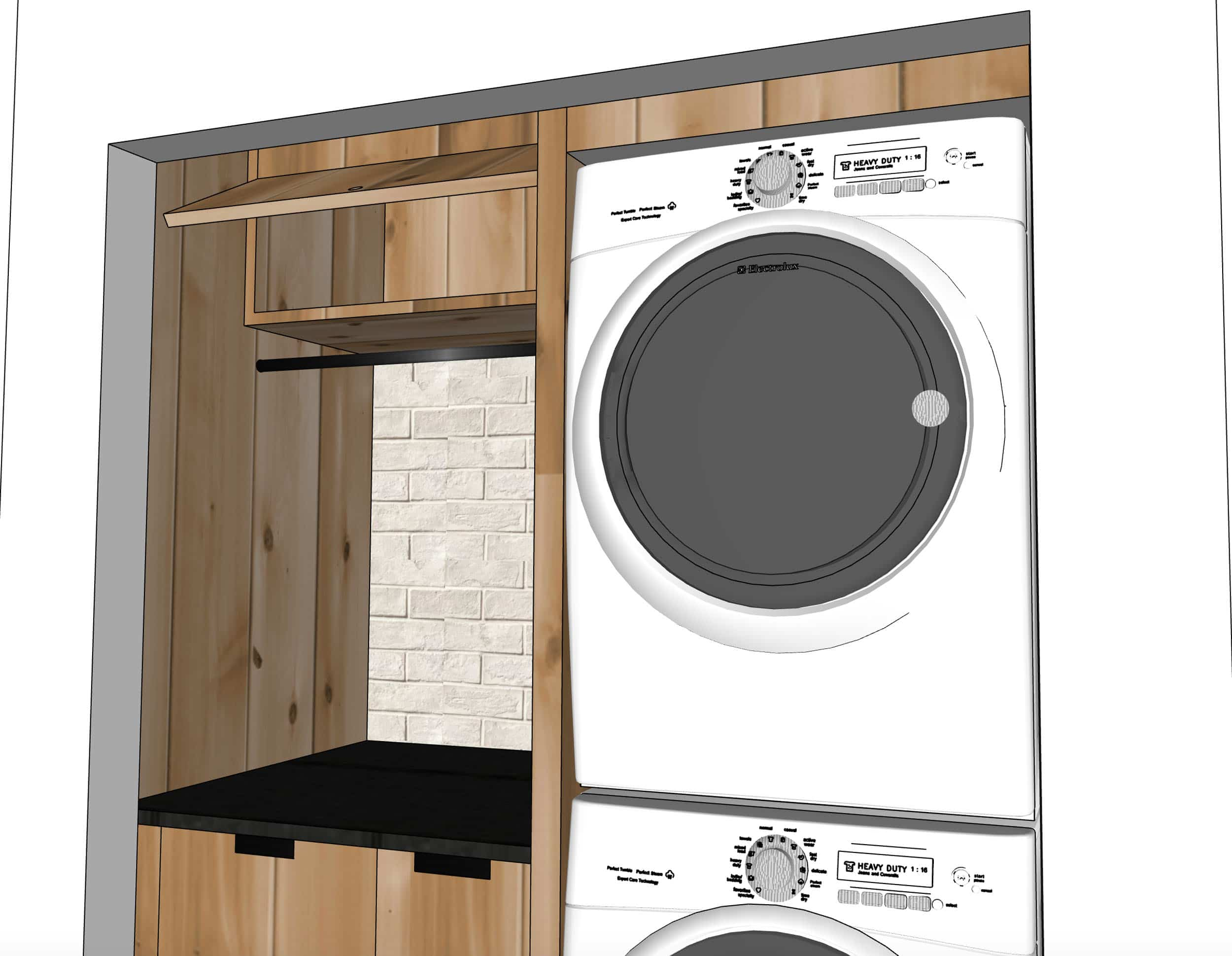Emily Henderson Mountain House Laundry Sketchup Design Details Awning Cabinet