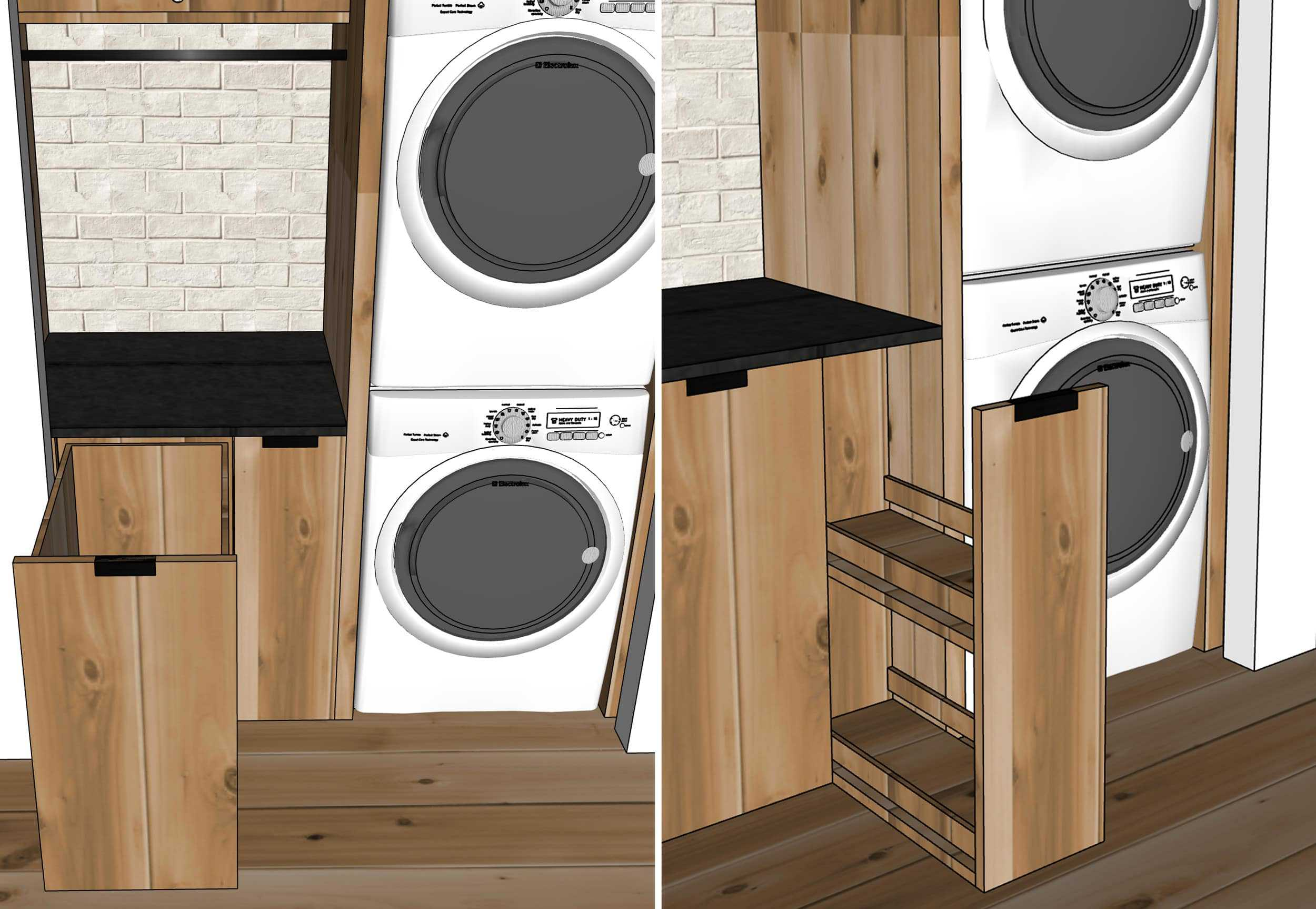 Emily Henderson Mountain House Laundry Sketchup Design Details Side By Side
