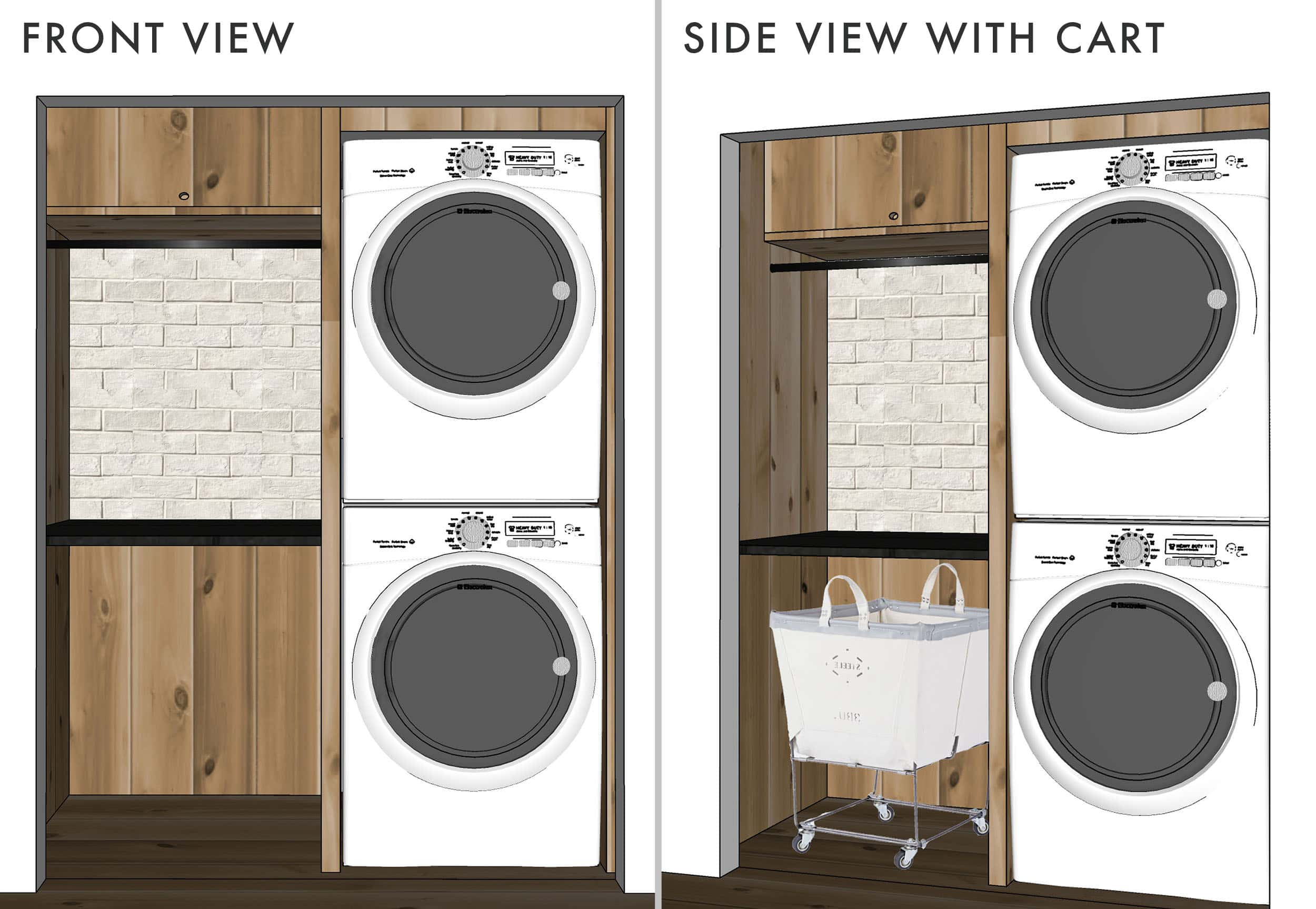 Emily Henderson Mountain House Laundry Sketchup Design Rolling Cart Side By Side 1