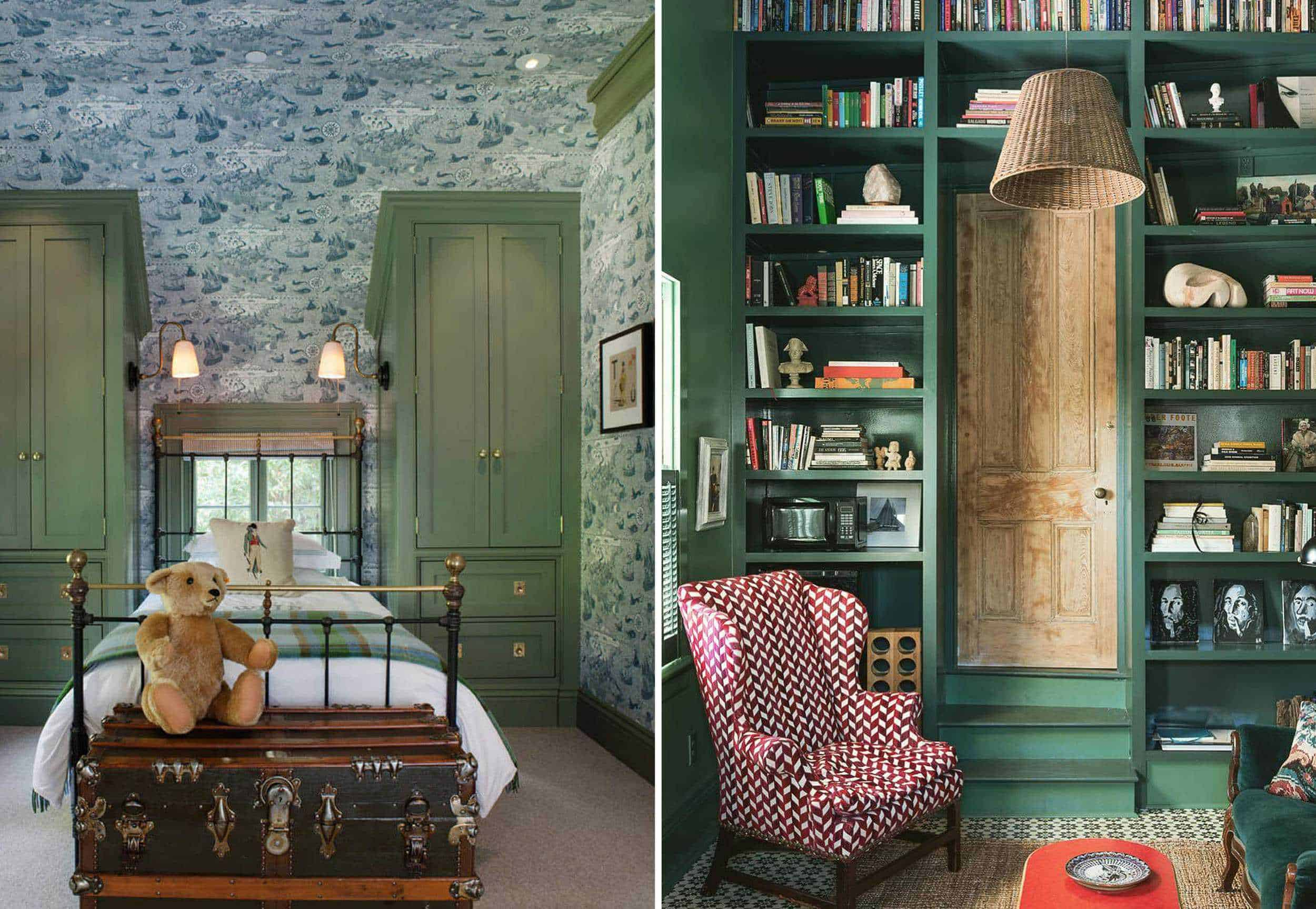 Emily Henderson Granny Chic Green Walls Side By Side