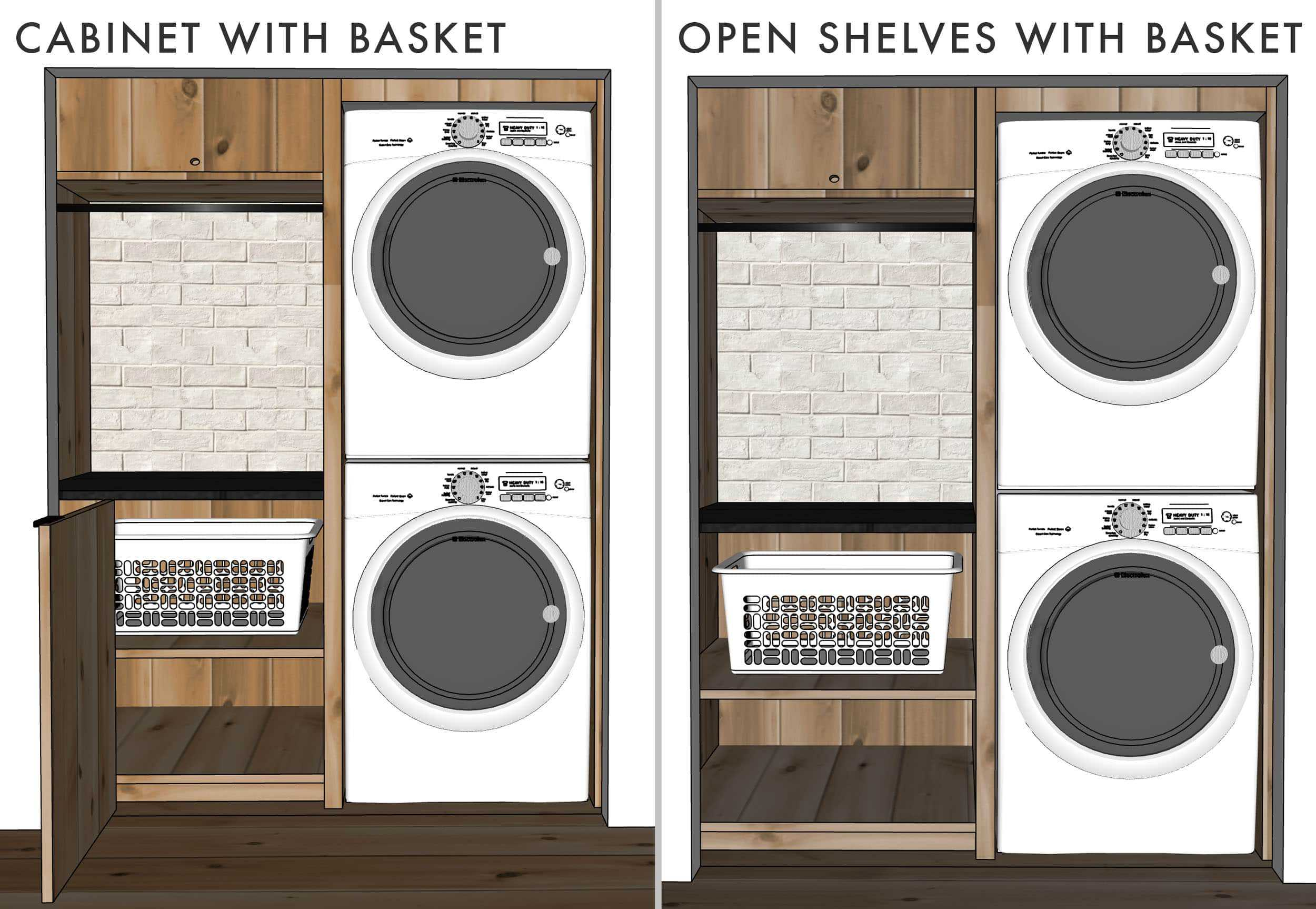 Emily Henderson Mountain House Laundry Sketchup Design Cabinet Open Shelves With Basket