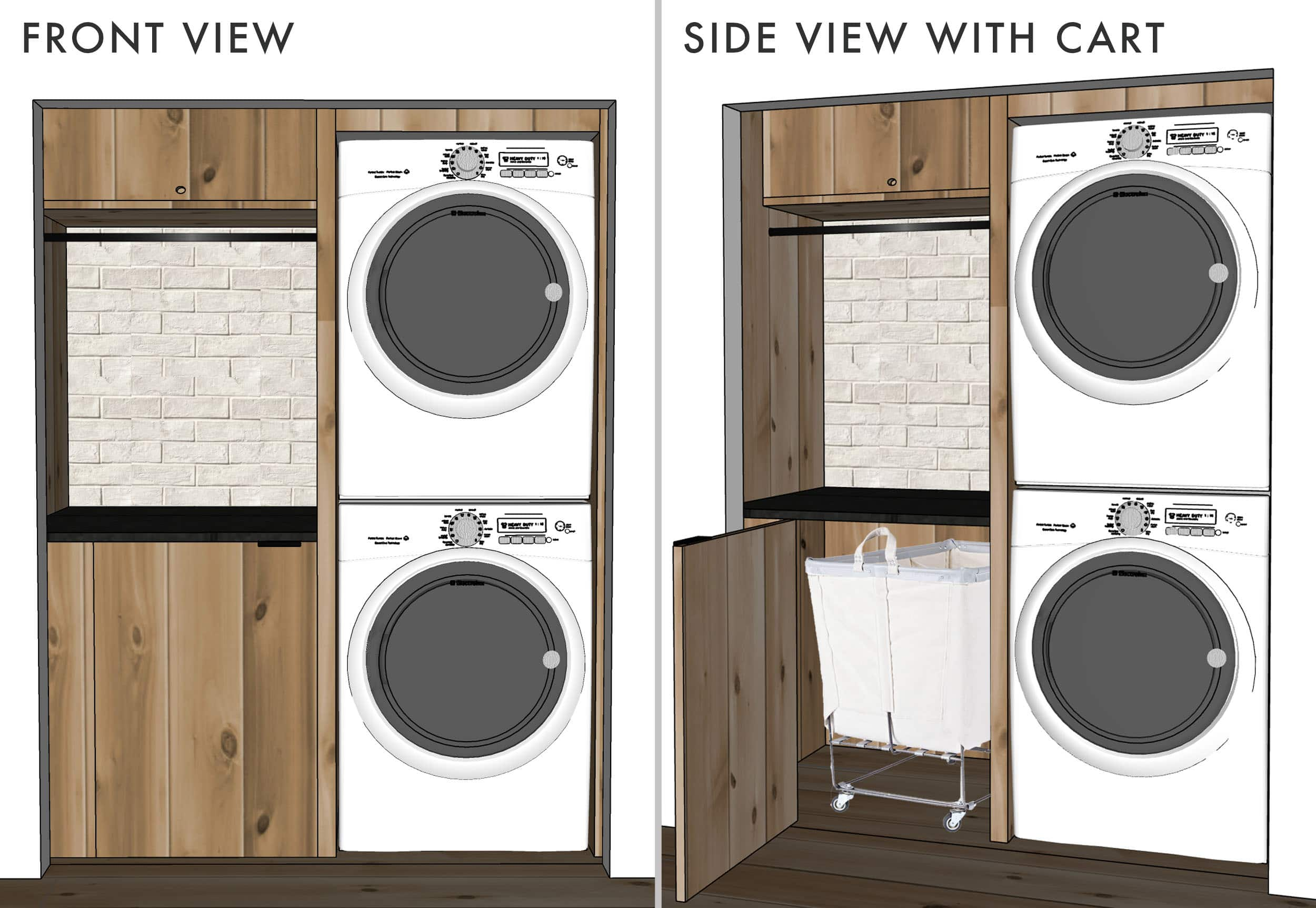 Emily Henderson Mountain House Laundry Sketchup Design Rolling Cart With Door Side By Side