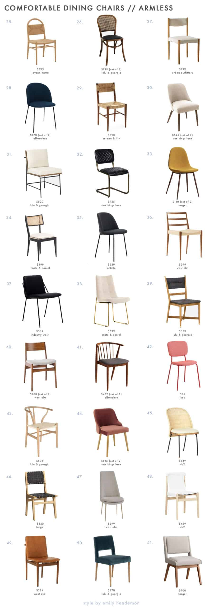 Picture of: 93 Dining Chairs That Meet All Your Comfort Needs Rules For Picking Them Out Emily Henderson