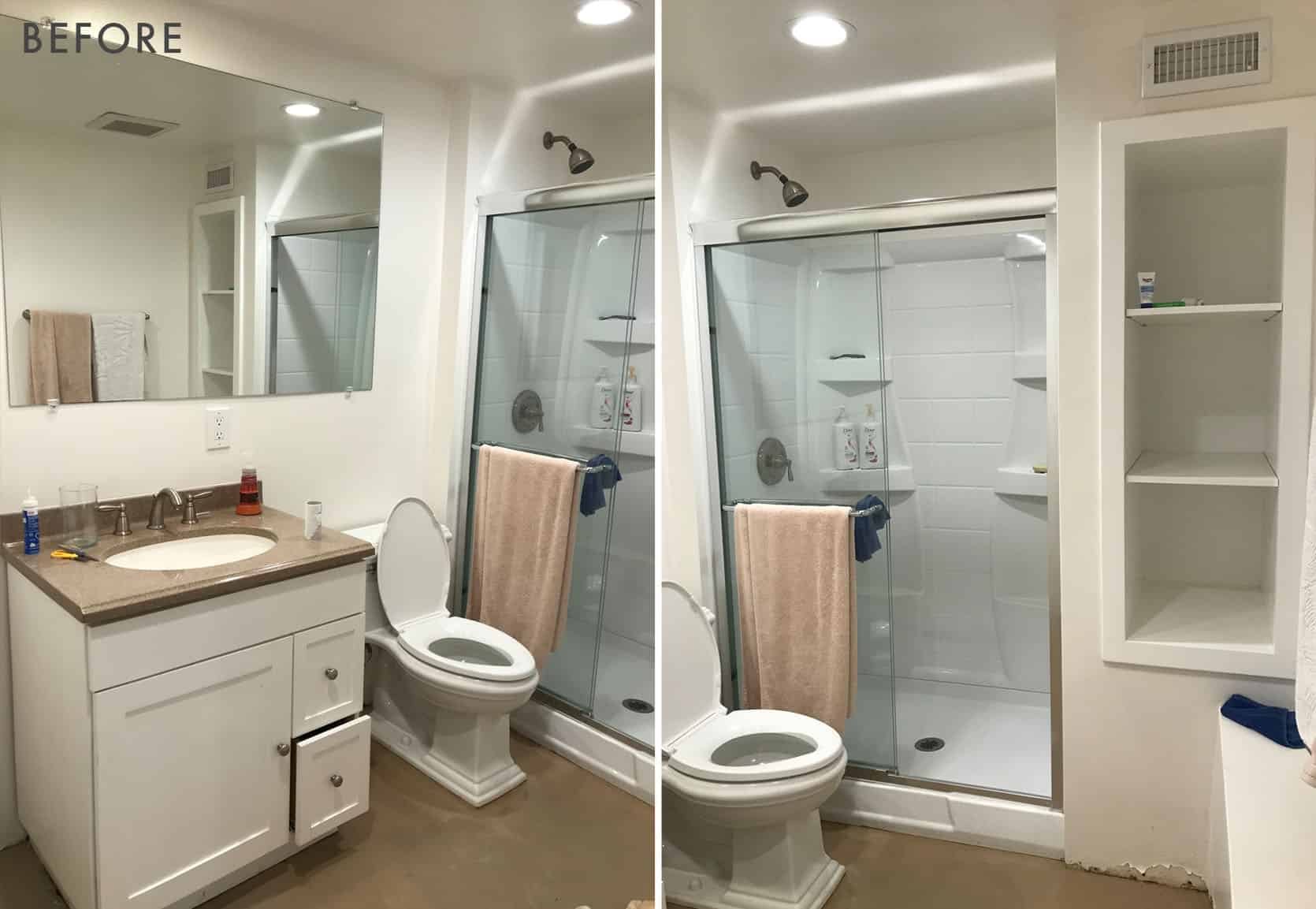 Introducing My Never Been Seen Basement Bathroom And Plan To Make It Awesome With Basic Pieces A Lot Of Vintage Styling Emily Henderson