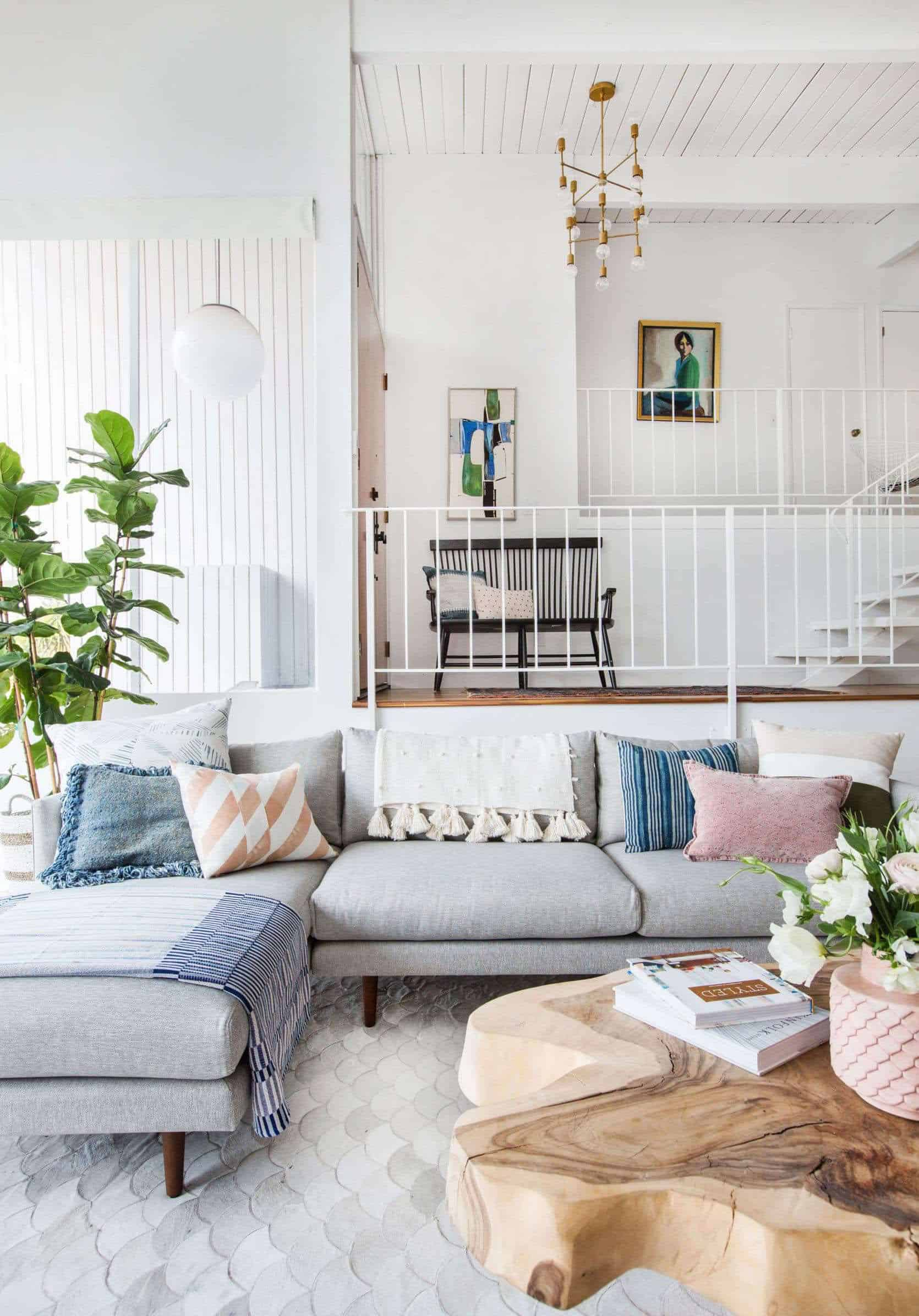 Emily Henderson Living Room Staged To Sell Boho Mid Century Eclectic Blue White Styled Couch Sectional Staged4 1670x2505 1 1