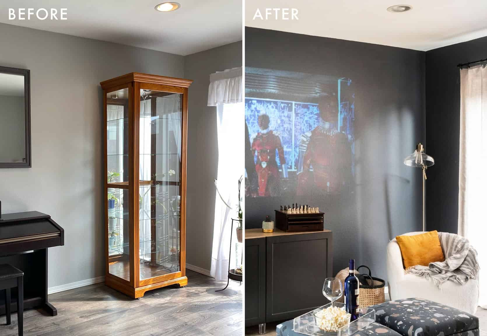 Emily Henderson Albie Buabeng Media Room Reveal Before and After