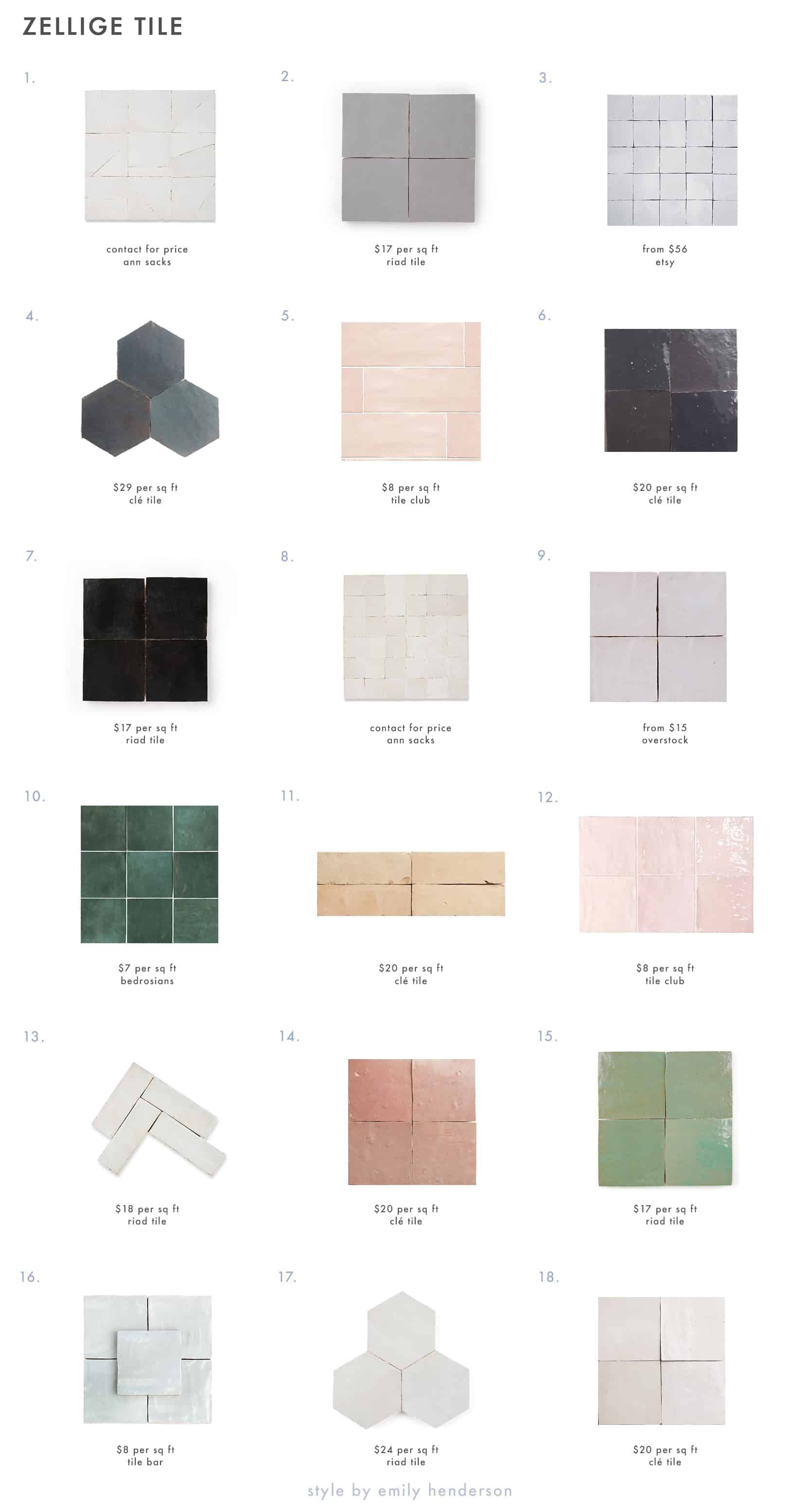 Emily Henderson Zellige Tile Roundup