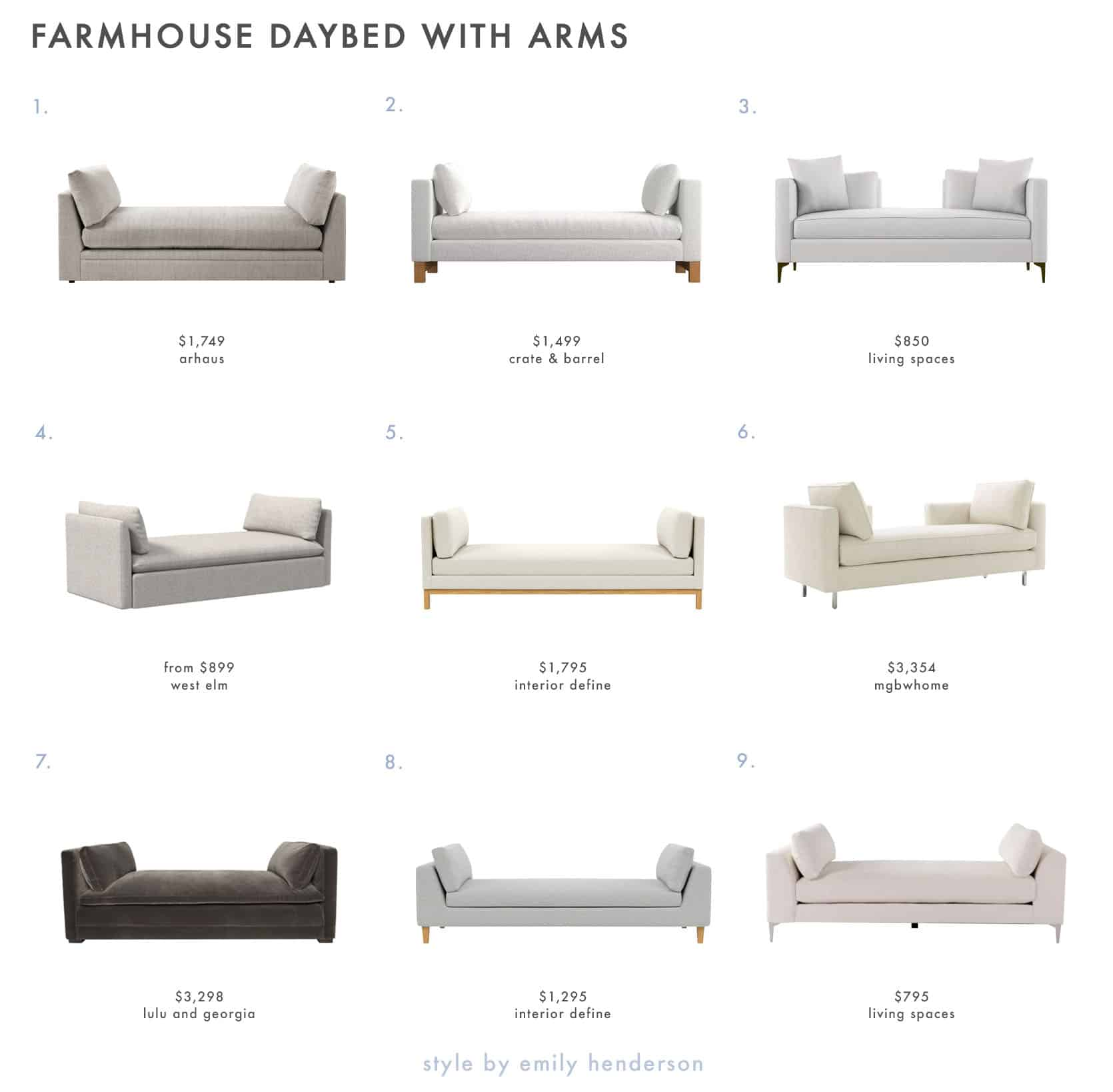 Emily Henderson Farmhouse Shopping List Daybeds Arms