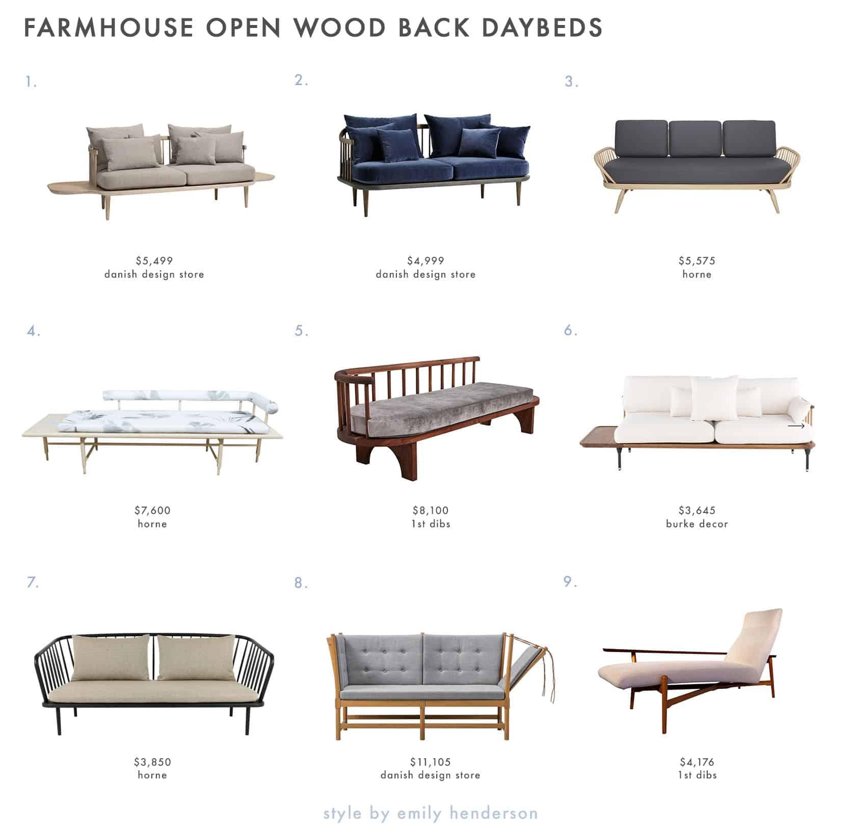 Emily Henderson Farmhouse Shopping List Daybeds Open Wood Backs