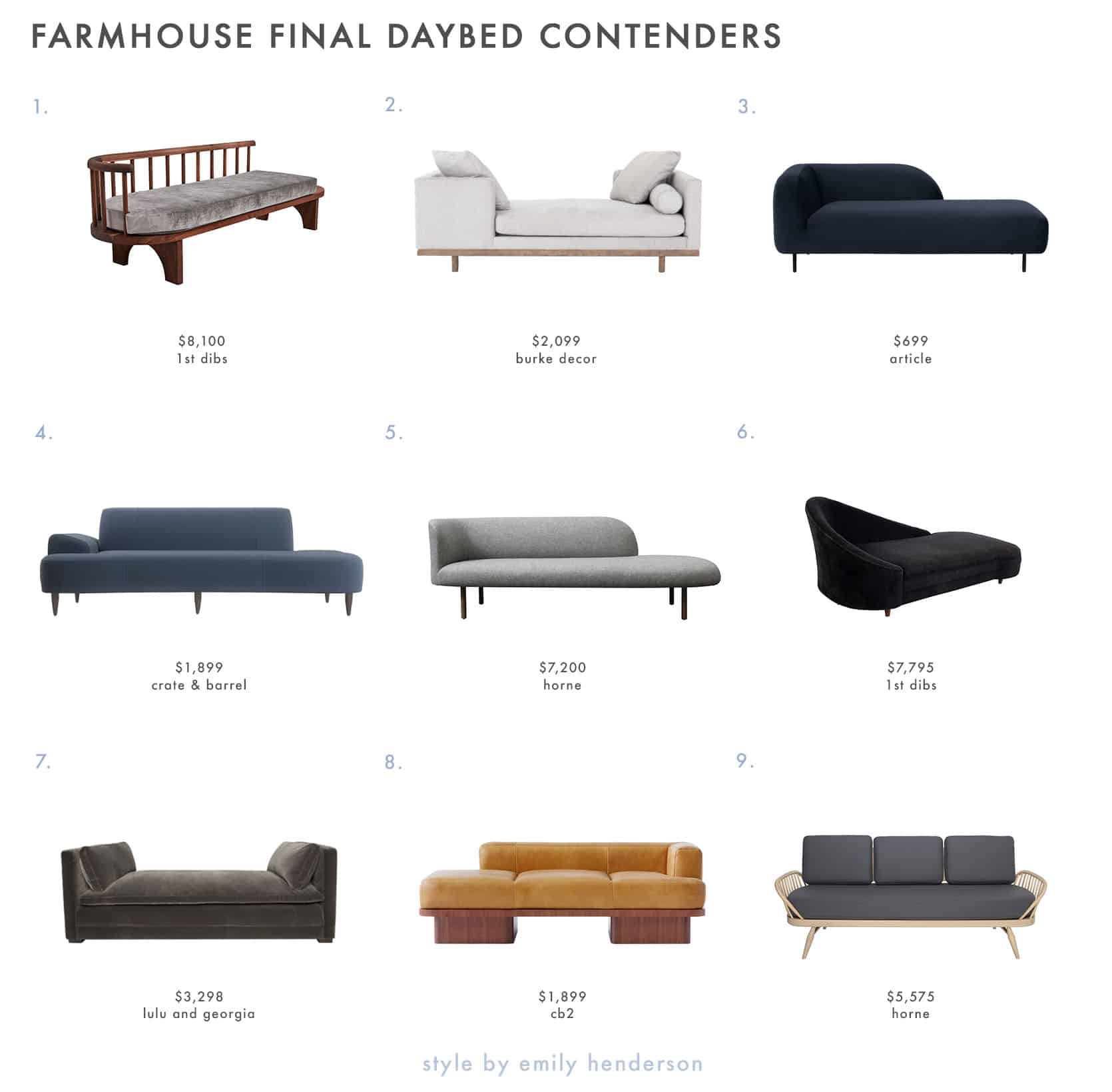 Emily Henderson Farmhouse Shopping List Daybeds The Final Contenders