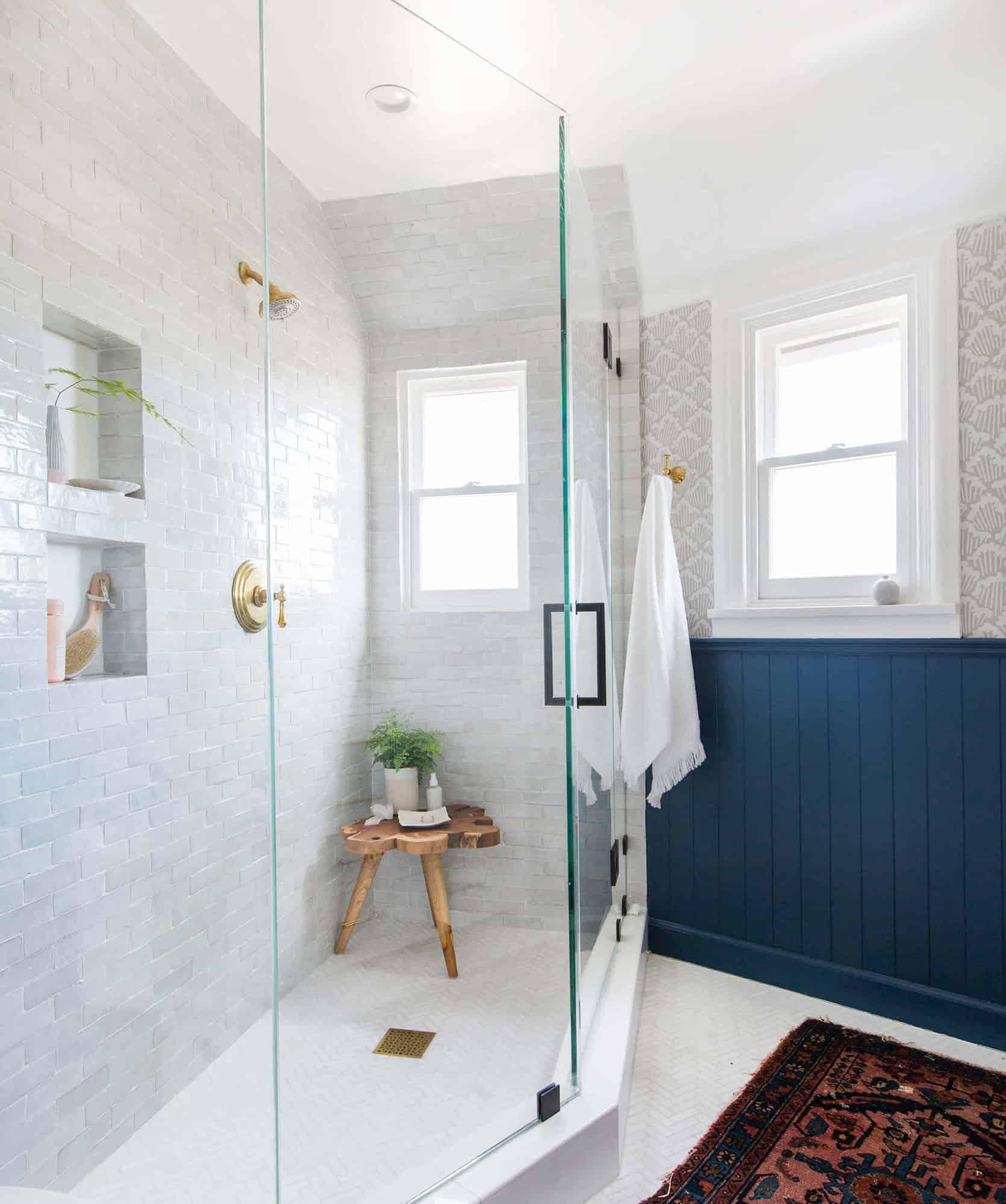 Emily Henderson Modern English Cottage Tudor Master Bathroom Reveal Tile
