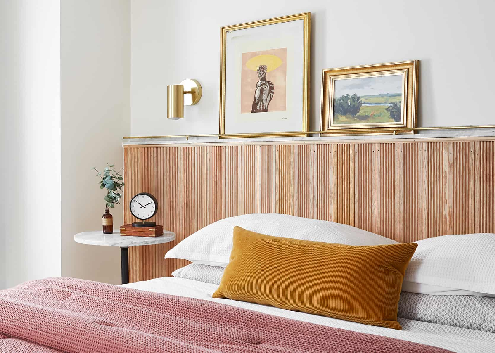 Malcolm's Wood And Marble DIY Headboard Tutorial: How He Executed It To Feel Timely, Classic, And So Unique