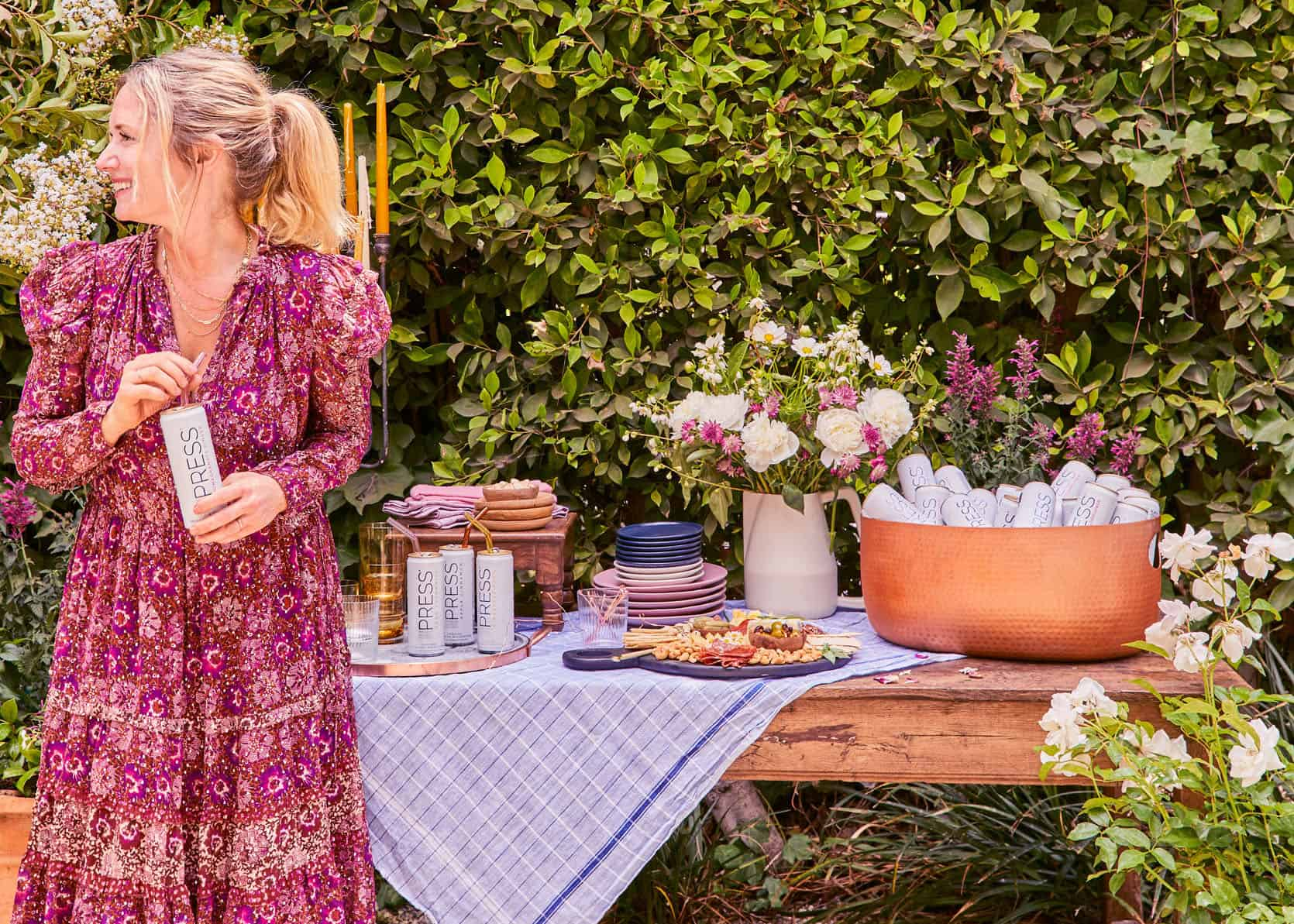 How To Throw An Elevated Garden Party with PRESS Premium Seltzer + Sustainable Outdoor Party Styling Tips