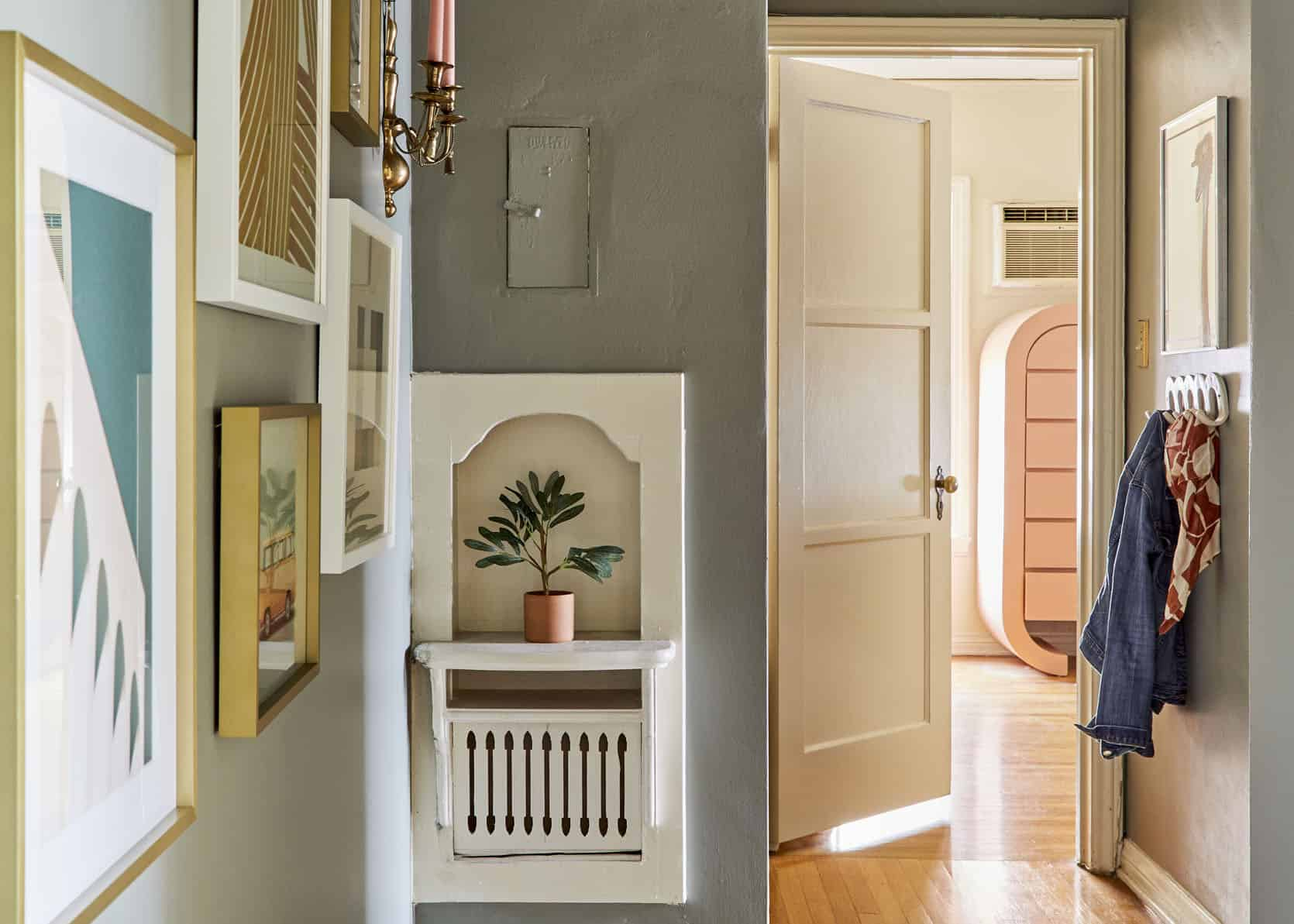 Caitlin's Long, Dark Hallway Makeover (And The Perfect Paint Color That Worked With All 3 Of Her Bold Wallpapers)