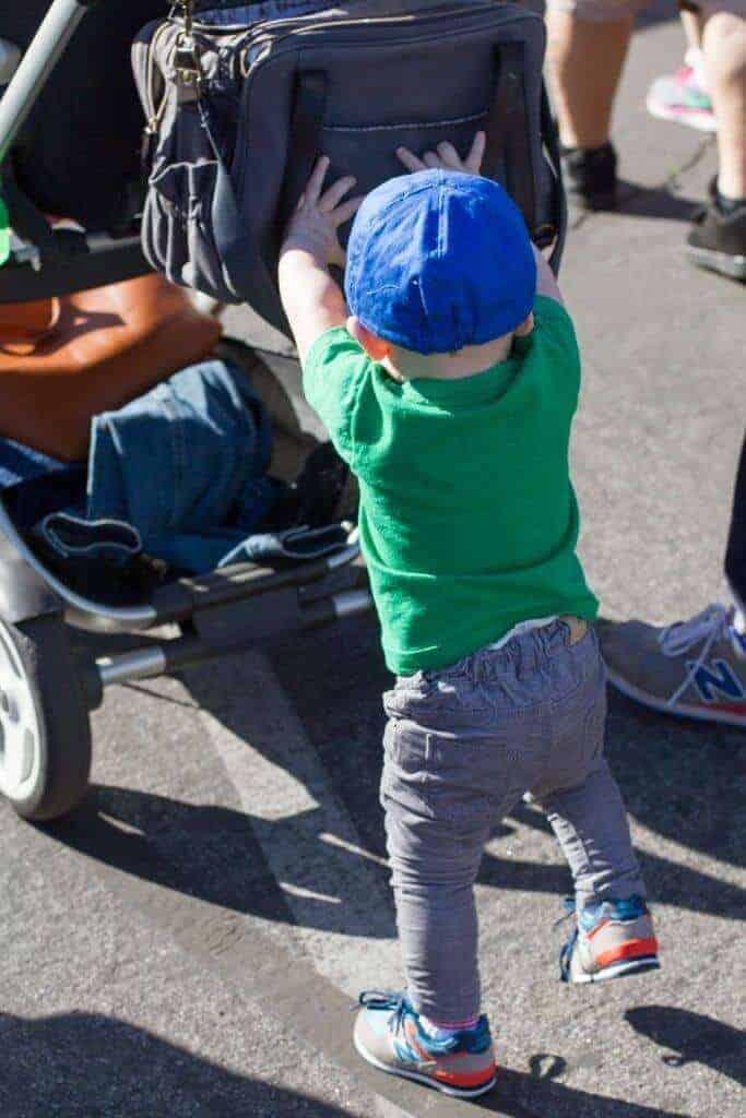 Charlie =pushing stroller