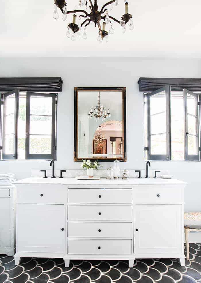 Bathroom_Modern Old World_Blue_Concrete Tile_Vanity_Mirror_Scallop