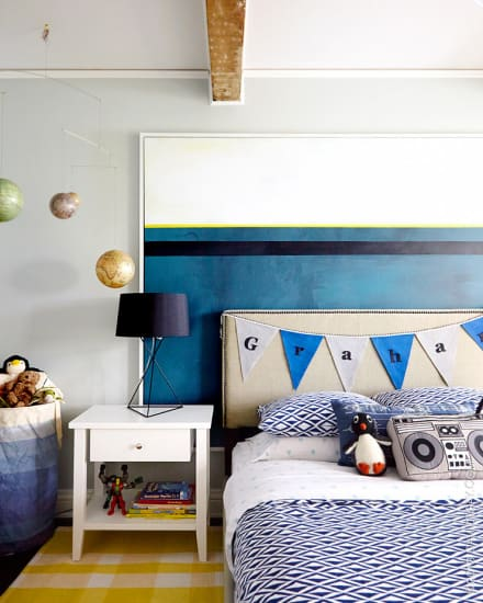 Boys Bedroom_Blue_Emily Henderson_Grey_Art