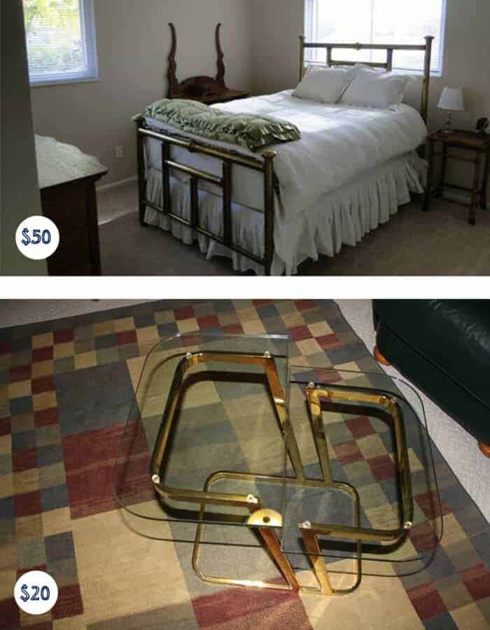 Brass Bed and Table