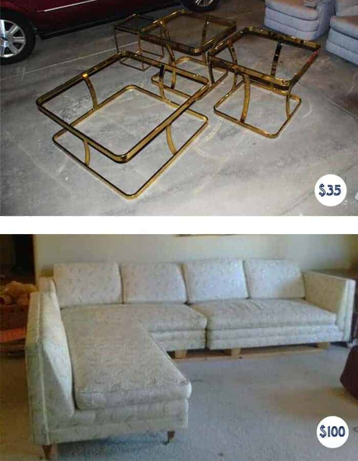 Brass Table Set and MSM Sectional