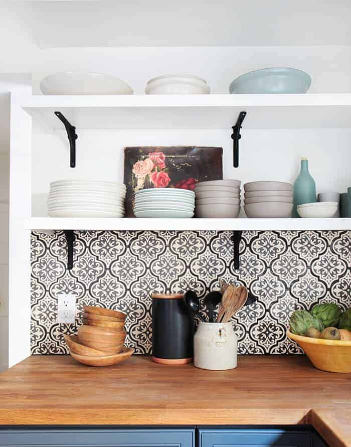 California Country_Kitchen_Emily Henderson_blue wood concrete tile open shelving causal_3