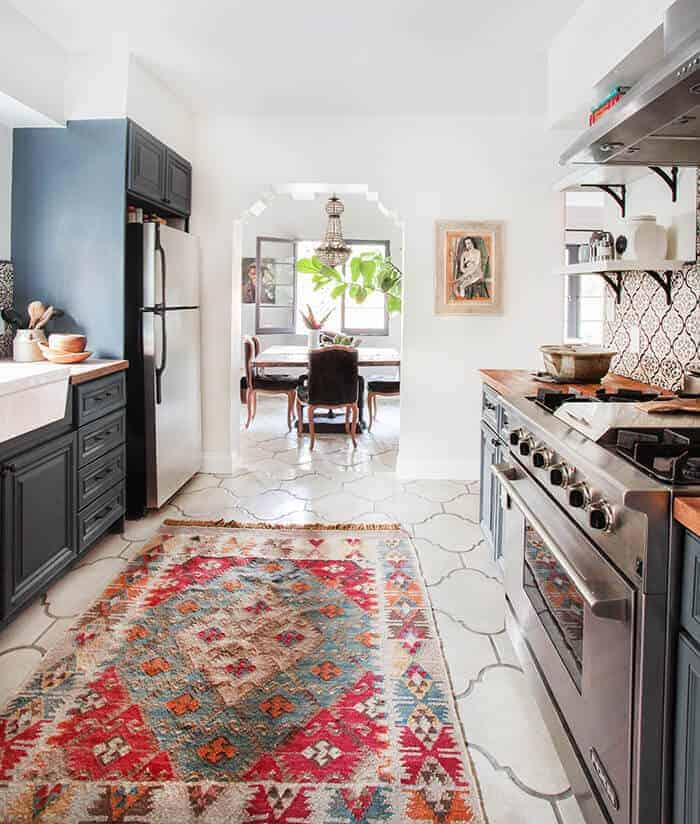 California Country_Kitchen_Emily Henderson_blue wood concrete tile open shelving causal_4