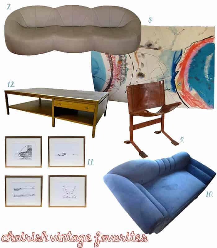 Chairish Vintage Sofas Art and Table