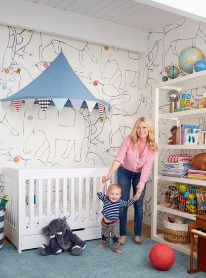 Charlie_Standing_Nursery_fit_pregnancy_blue_white_Minakani_wallpaper_emily_henderson