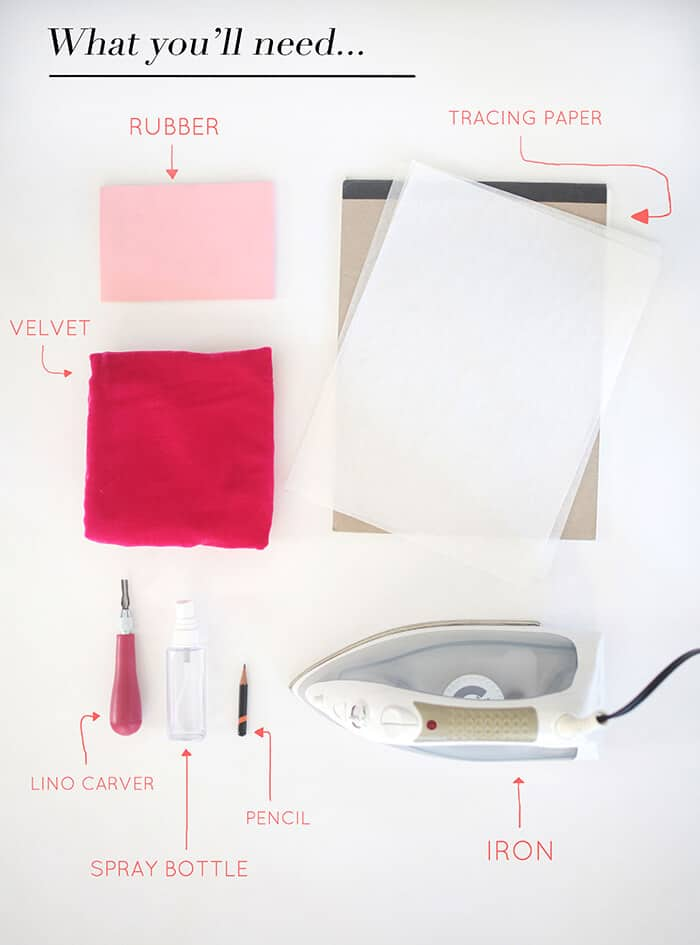 DIY Embossed Pillow Ingredients