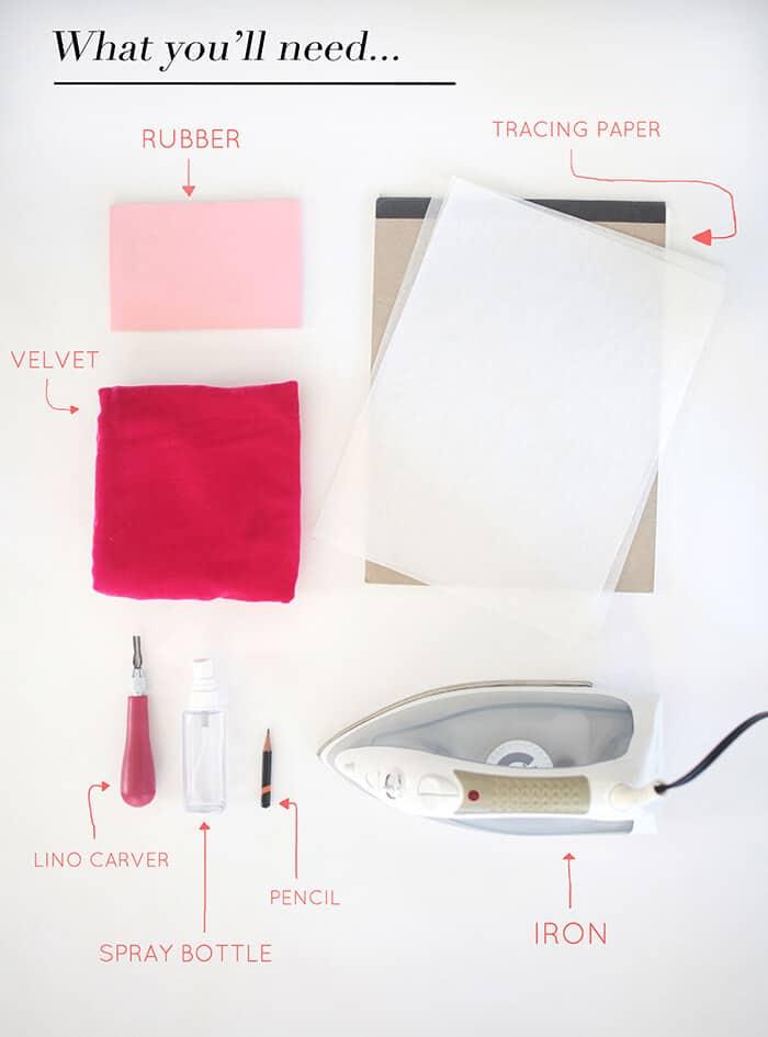 DIY Embossed Pillow Ingredients